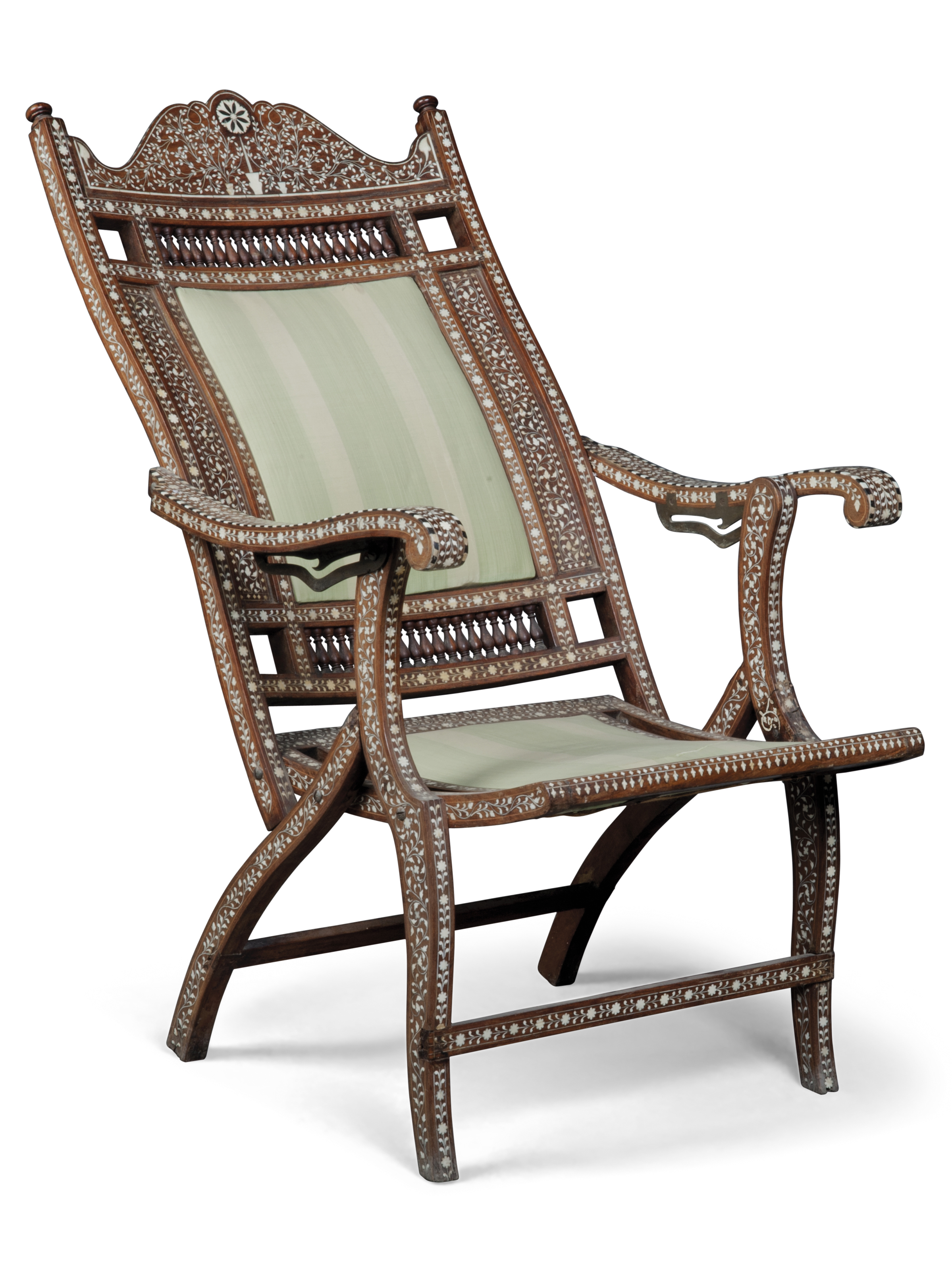 AN INDIAN EBONY AND BONE INLAID TEAK AND CANED PLANTER S CHAIR AND