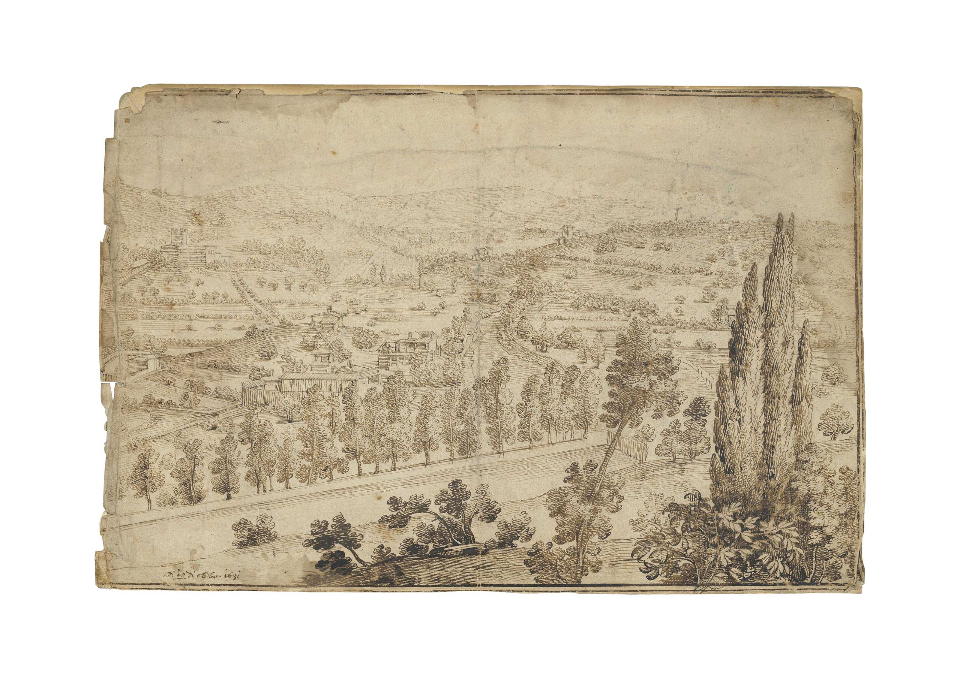 A view of a hilled landscape with houses, possibly in Tuscany