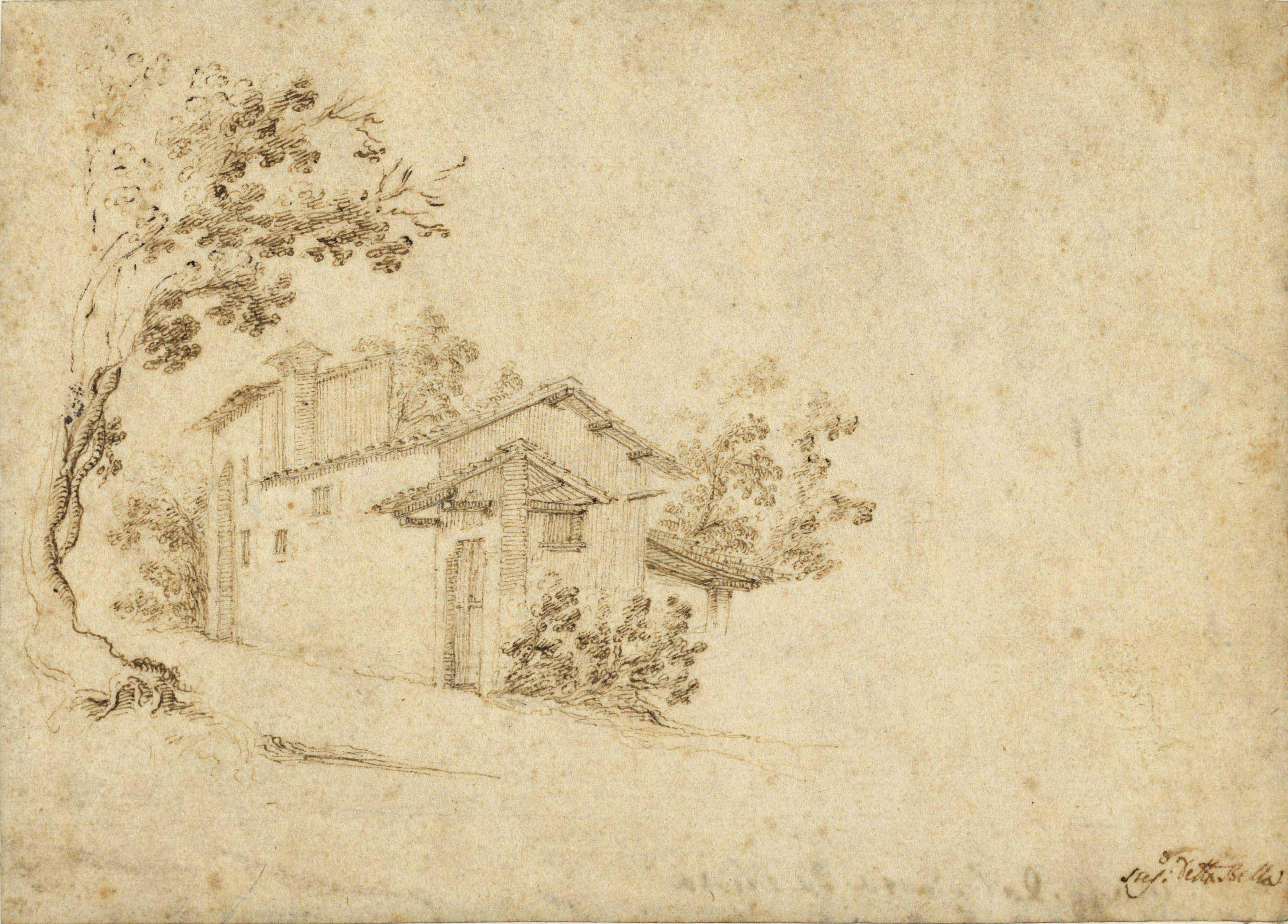 A farmhouse among trees