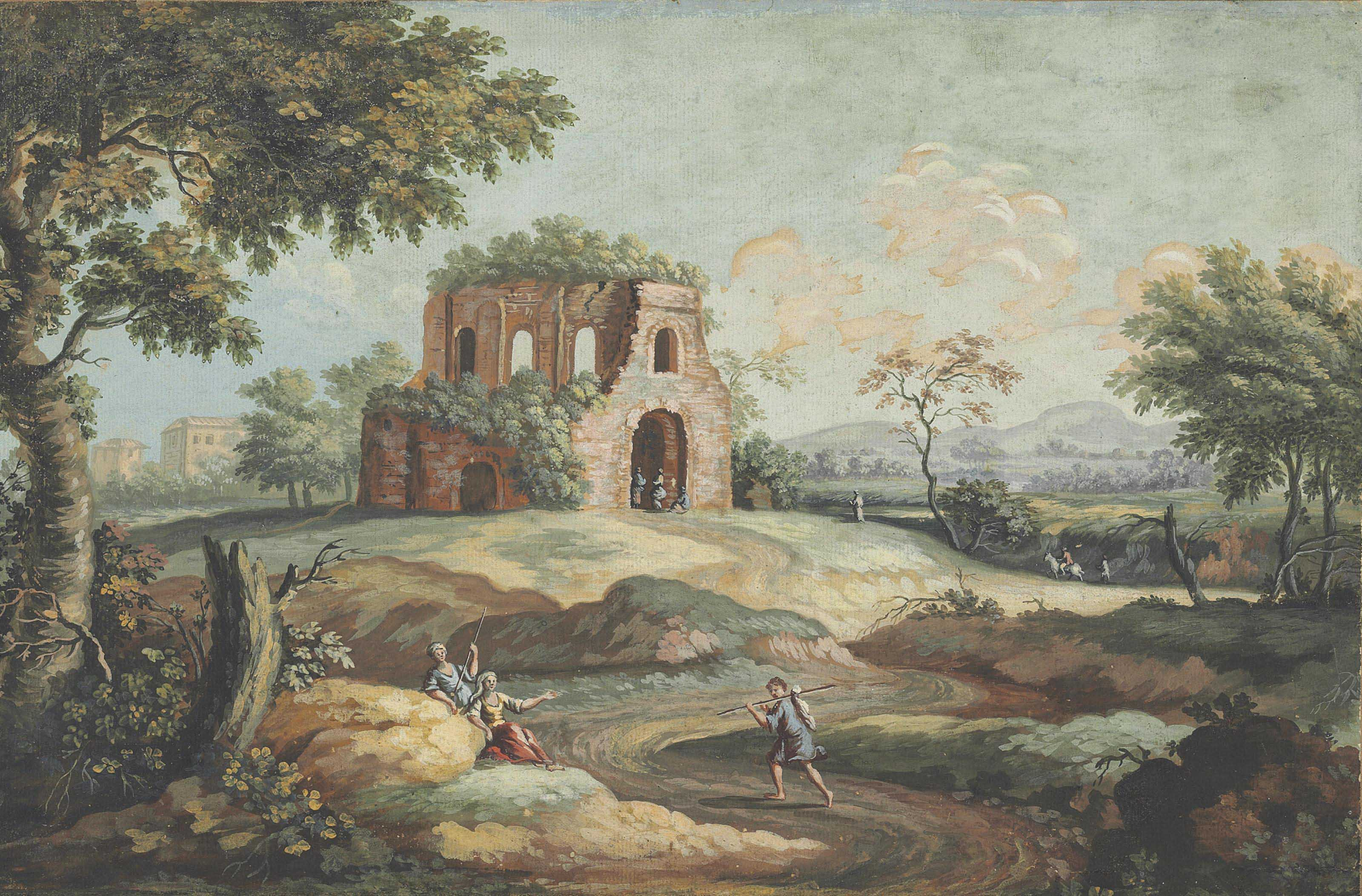 The Temple ofMinerva Medica in a classical landscape