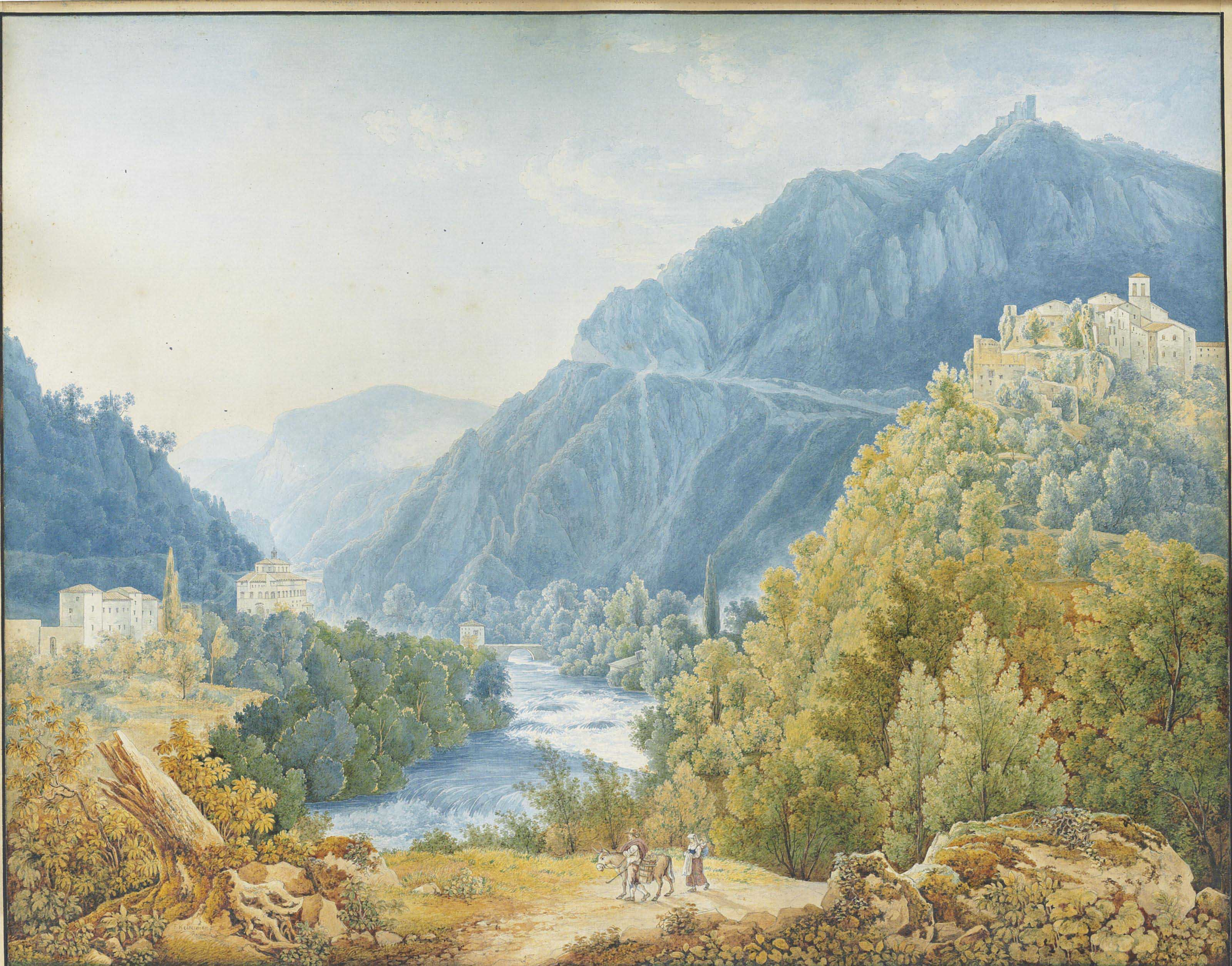 View of the valley of Terni with the ruins of the Castle of Papigno and the Church of Santa Maria Annunziata