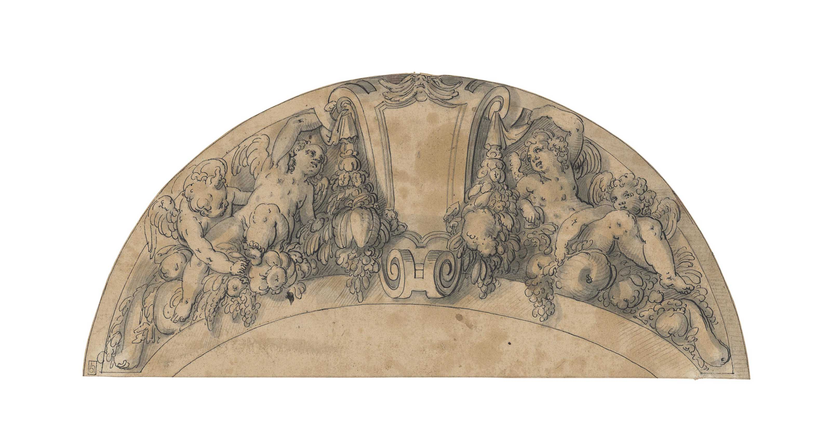 A decorative frieze for an overdoor, with putti and garlands of fruit and vegetables