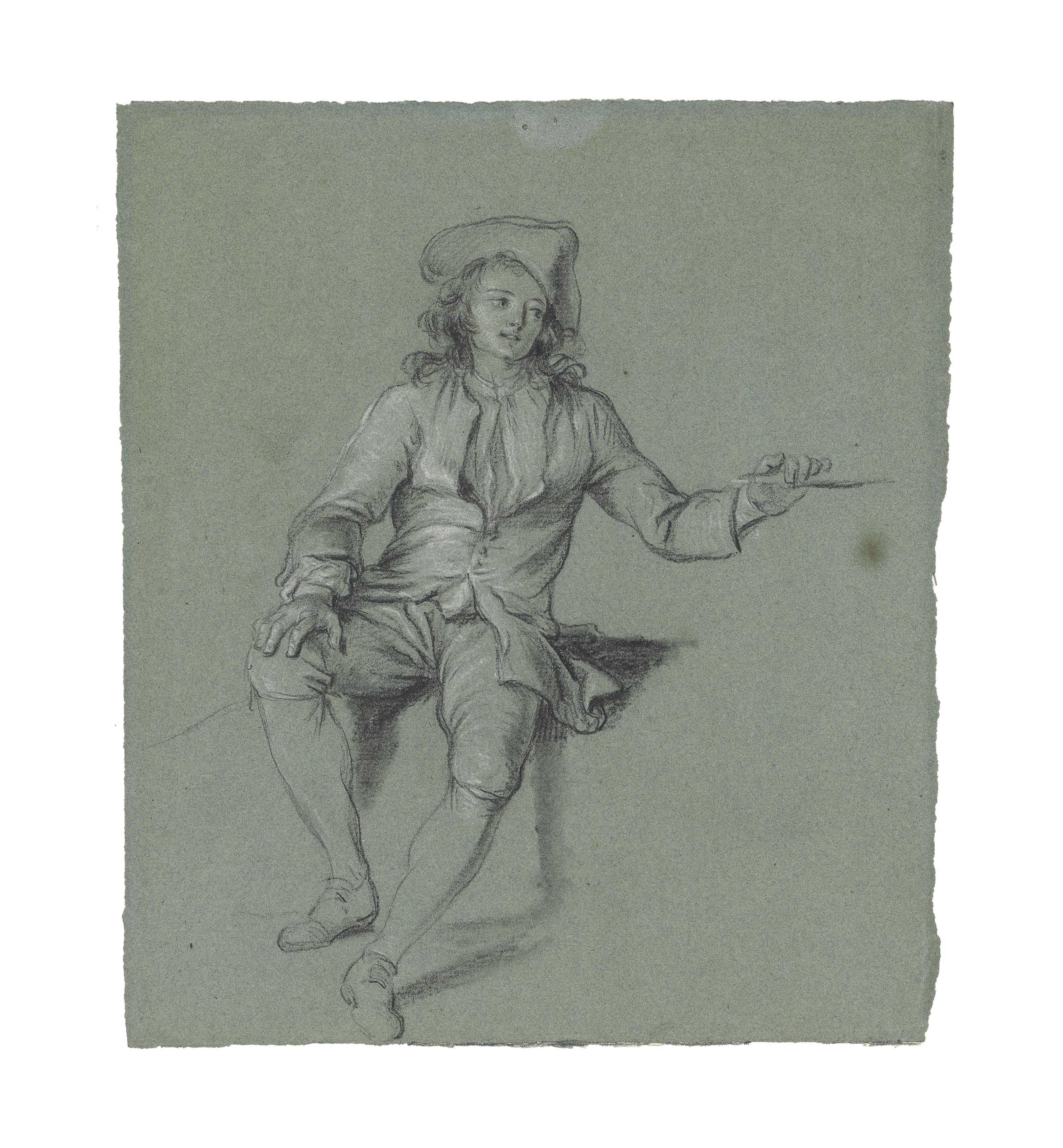 A seated boy with a tricorn hat
