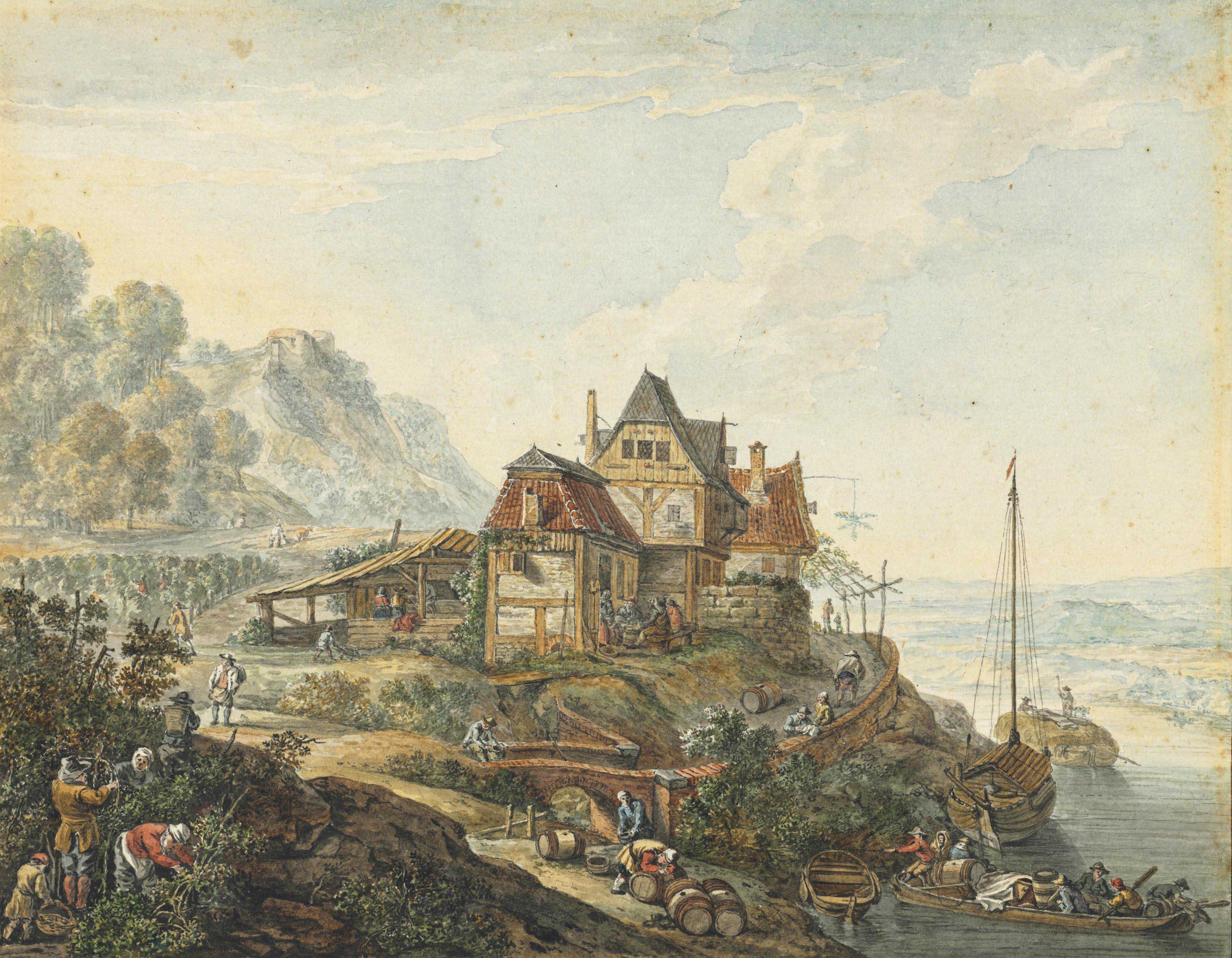 A Rhine landscape with an inn and peasants at work, after Herman Saftleven