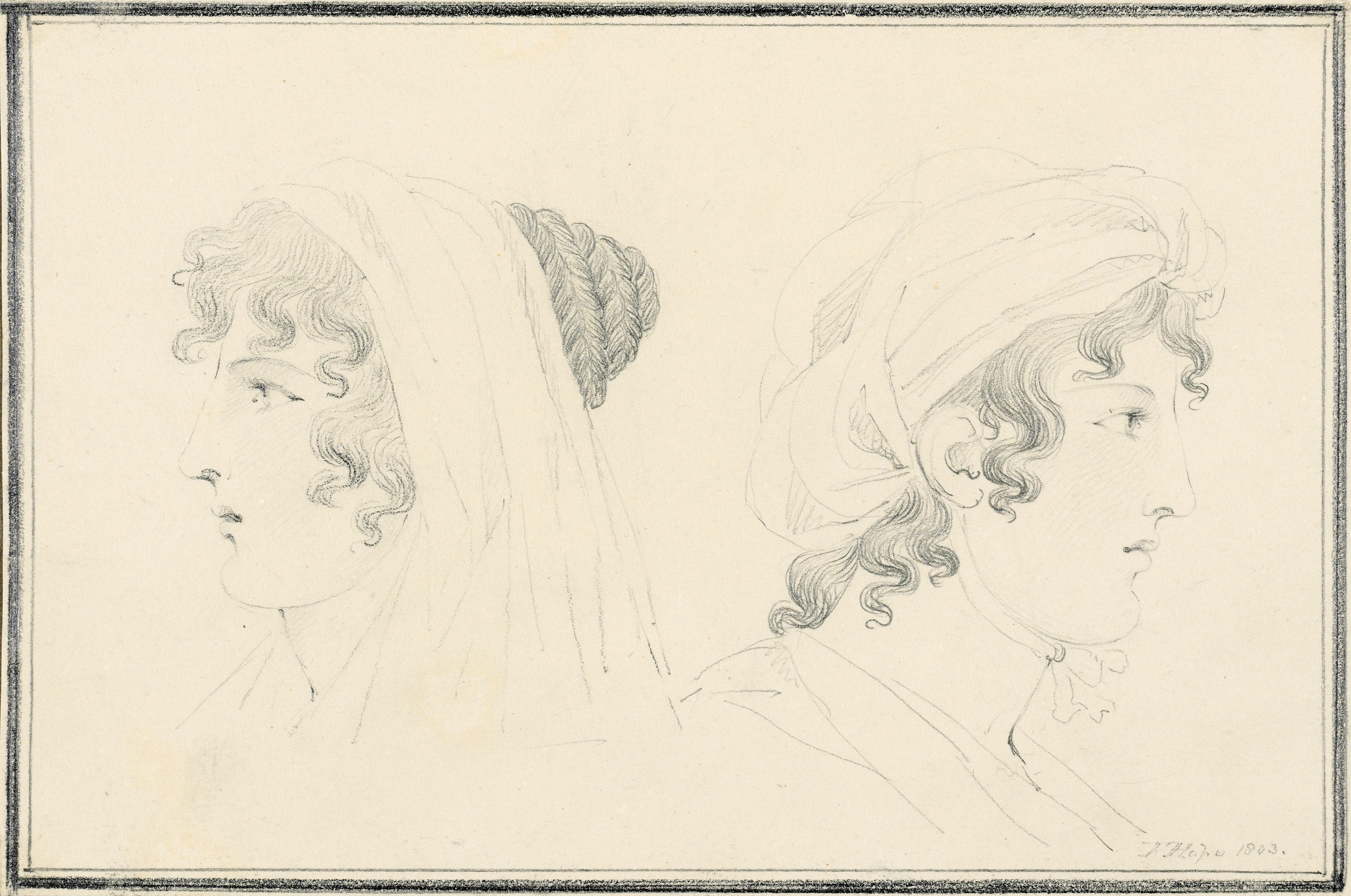 Studies of Emma, Lady Hamilton (1765-1815) in profile at Naples