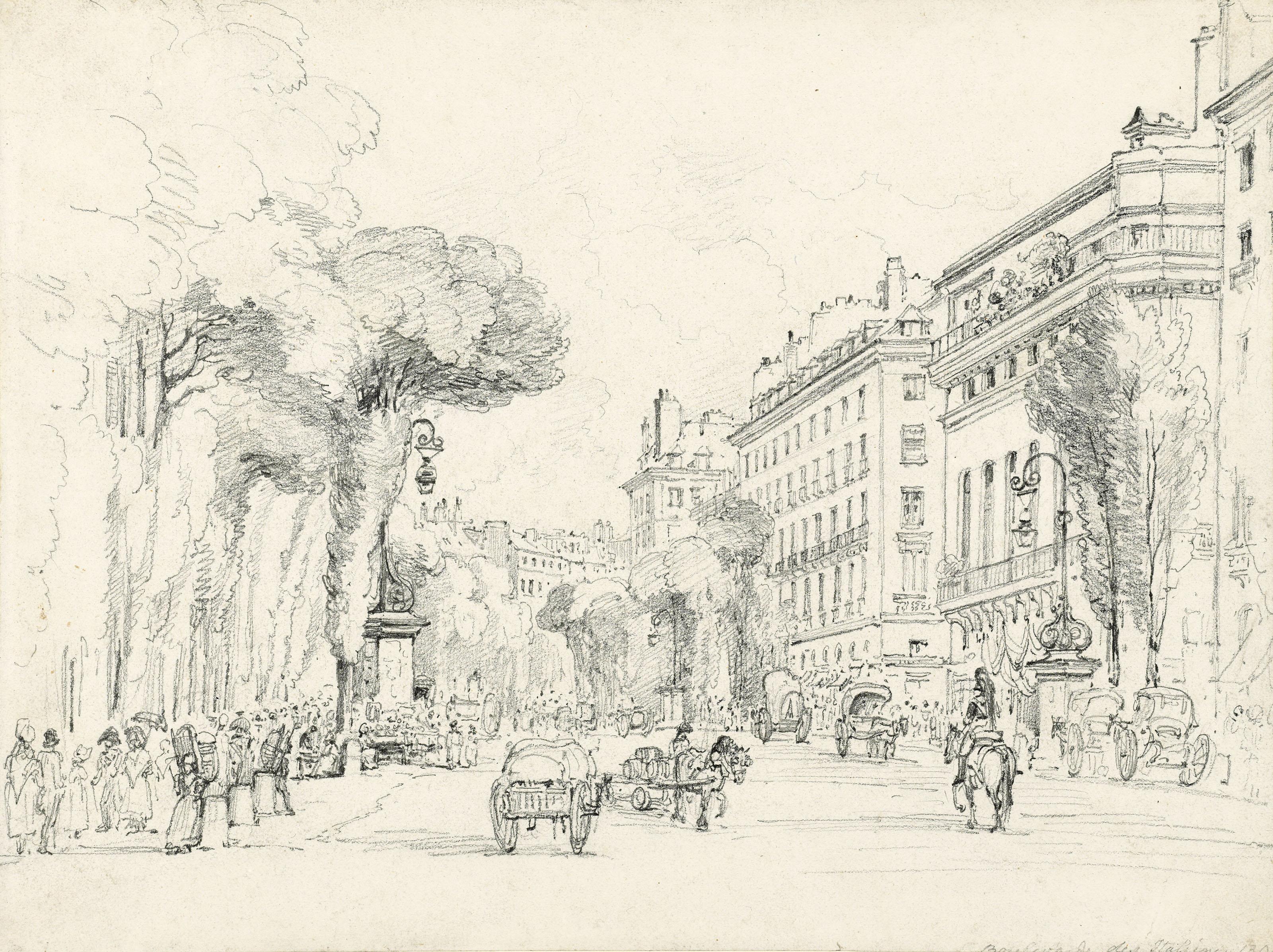 Two studies of the Boulevard des Italiens, Paris