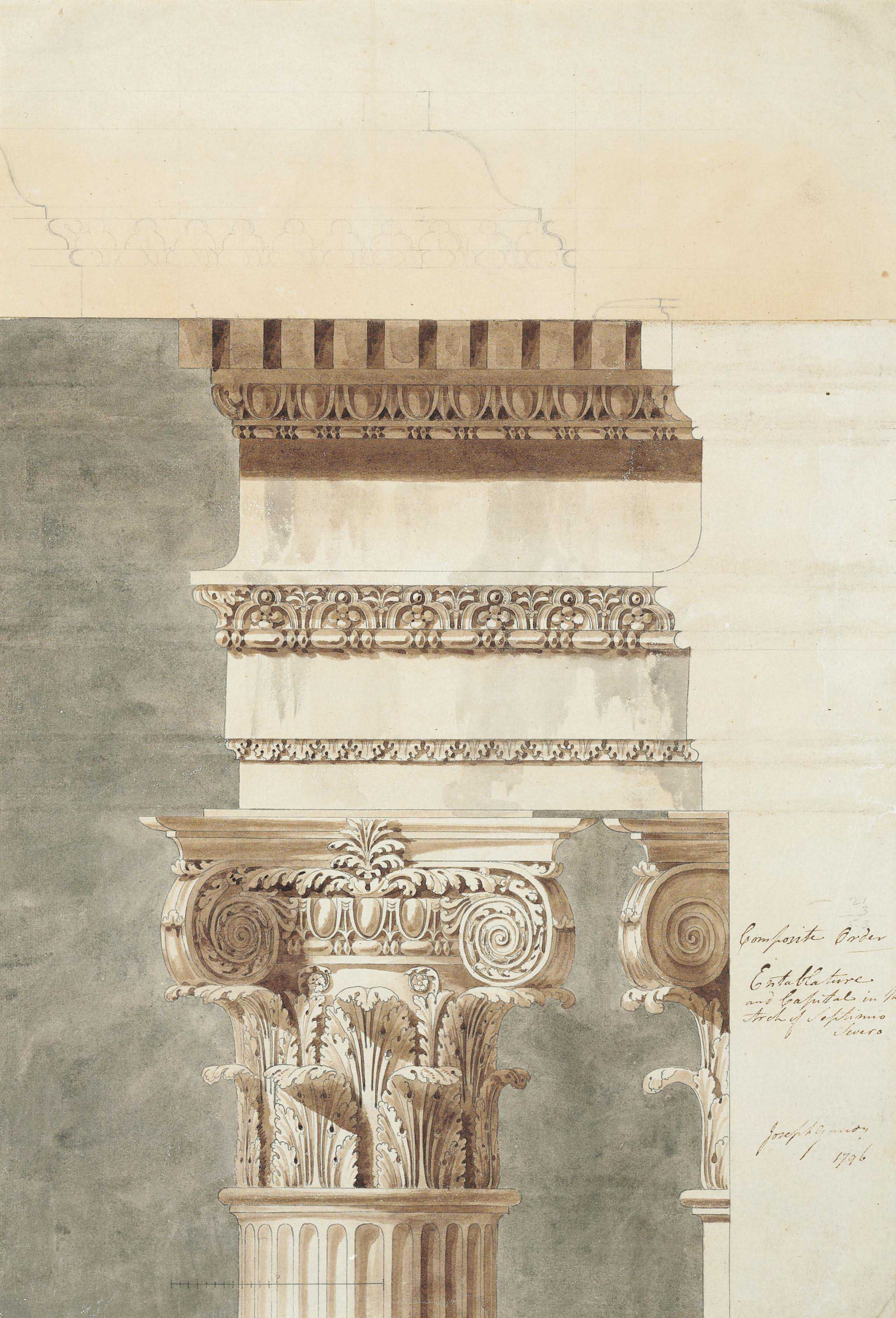 Entablature and capital in the Arch of Septimius Severus