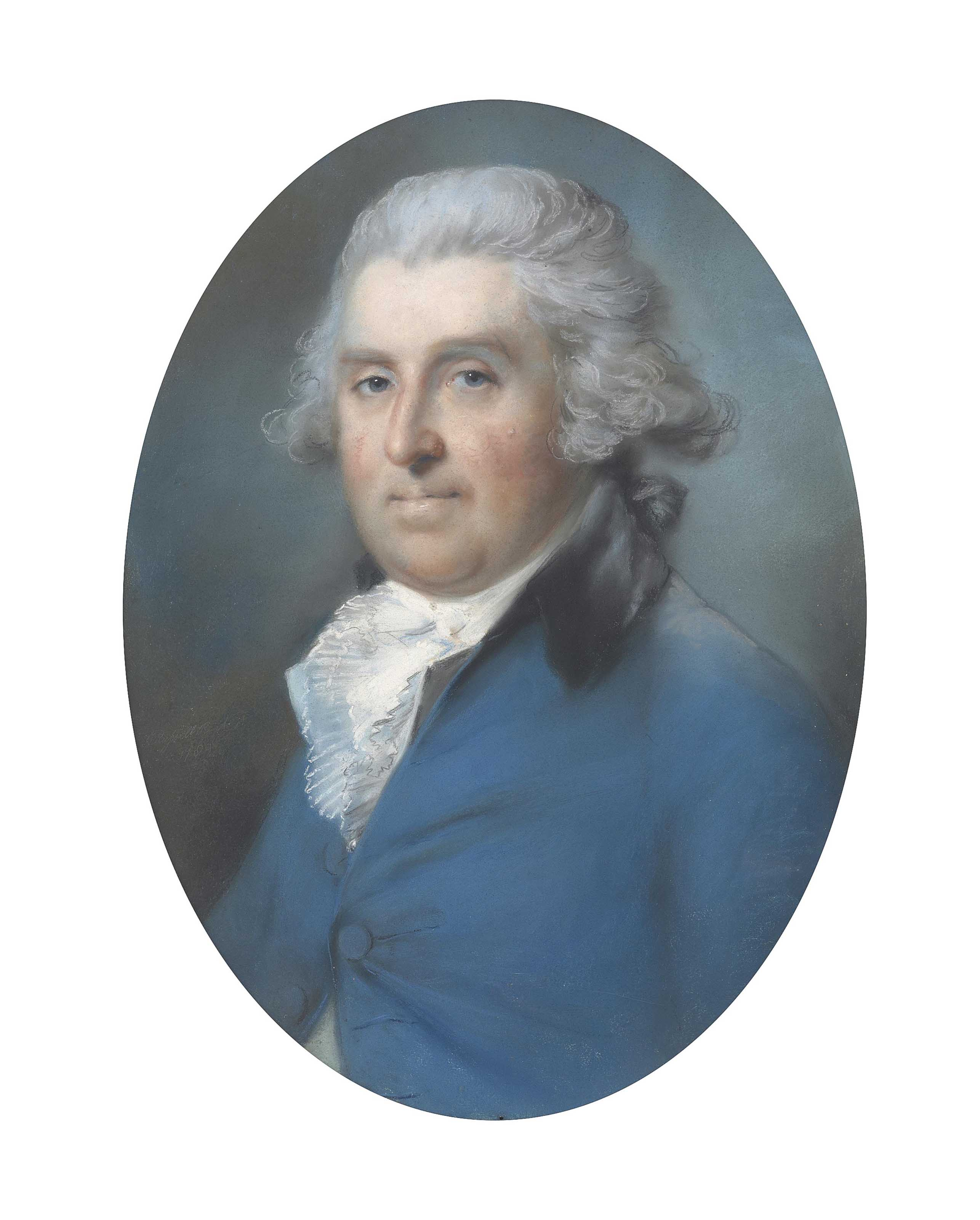 Portrait of a gentleman, possibly Captain John Deffell (1742-1806), half-length, in a blue coat and white cravat