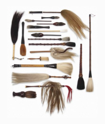 A COLLECTION OF BRUSHES AND FL