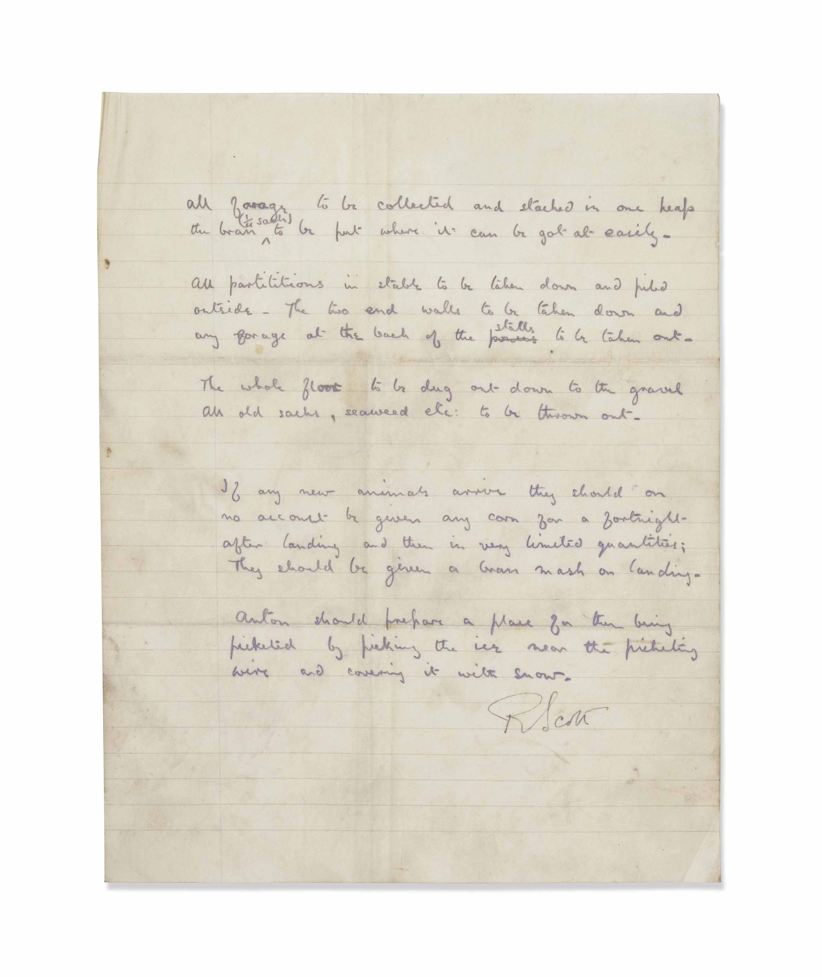 BRITISH ANTARCTIC EXPEDITION (1910-1913) - ROBERT FALCON SCOTT (1868-1912) DOCUMENT SIGNED BY R. SCOTT, THE TEXT IN THE HAND OF L.E.G. OATES