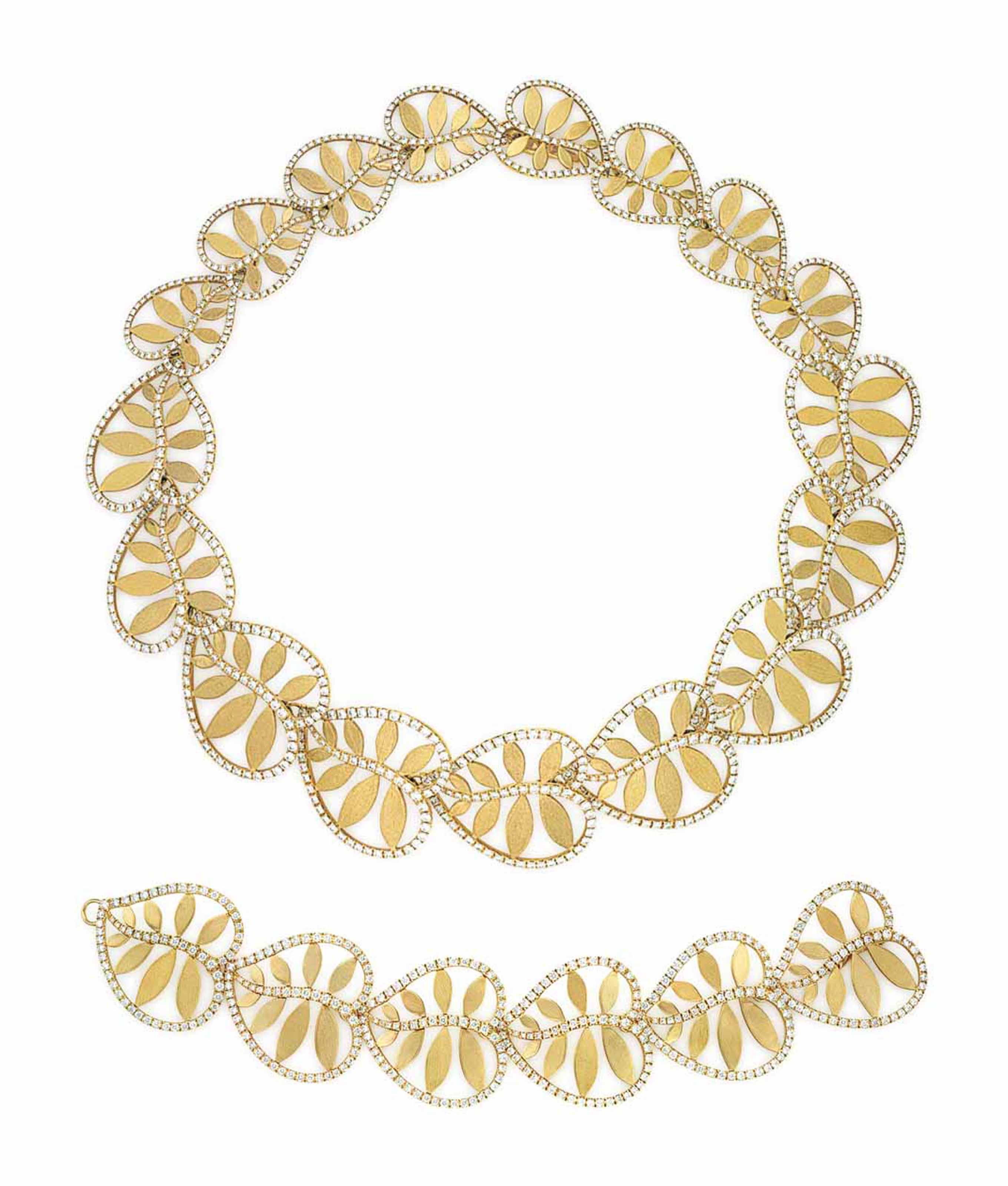 A SET OF GOLD AND DIAMOND 'PALM' JEWELRY, BY PALOMA PICASSO, TIFFANY & CO.