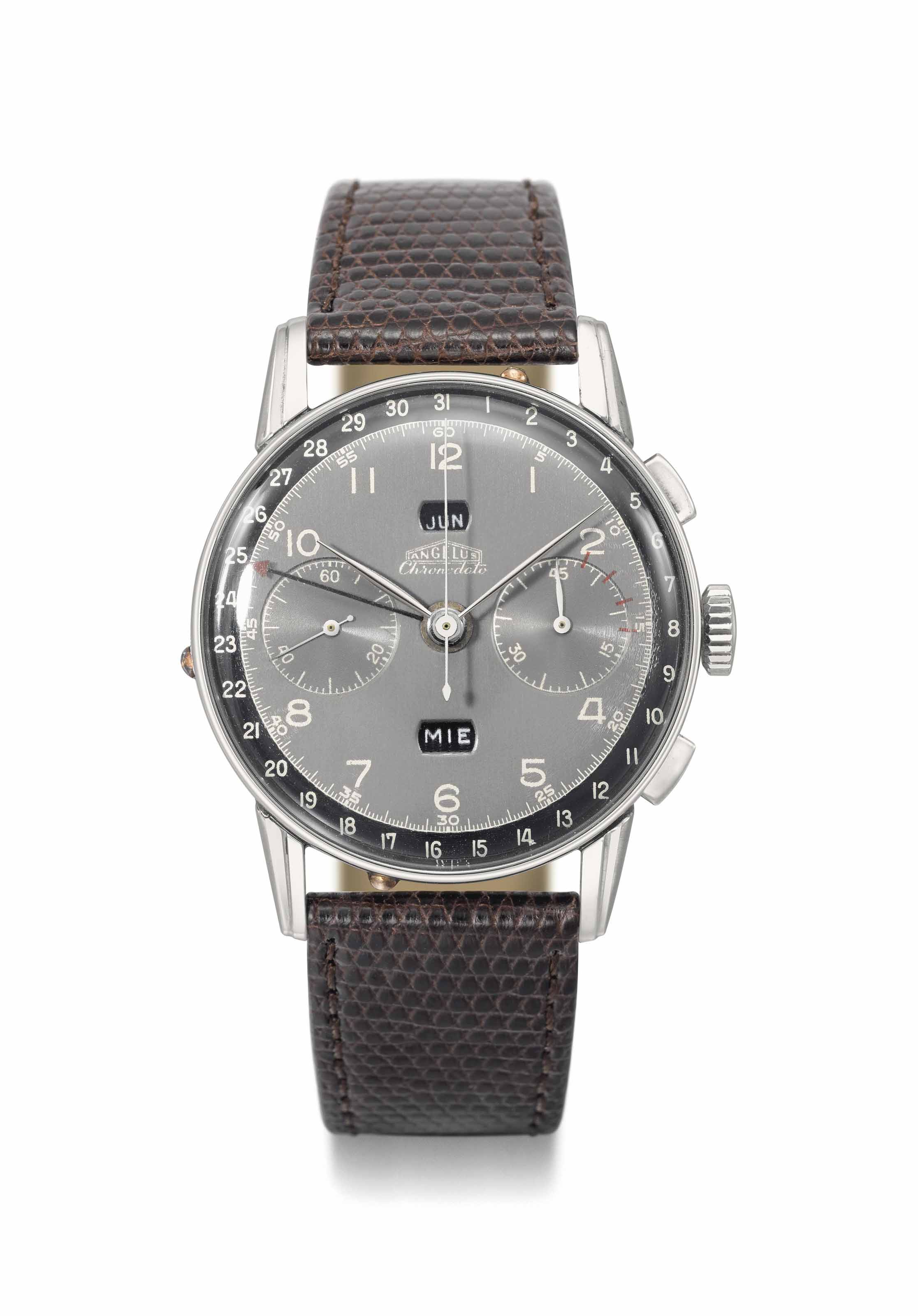 Angelus. A large, rare and highly attractive stainless steel triple calendar chronograph wristwatch with two-tone black dial