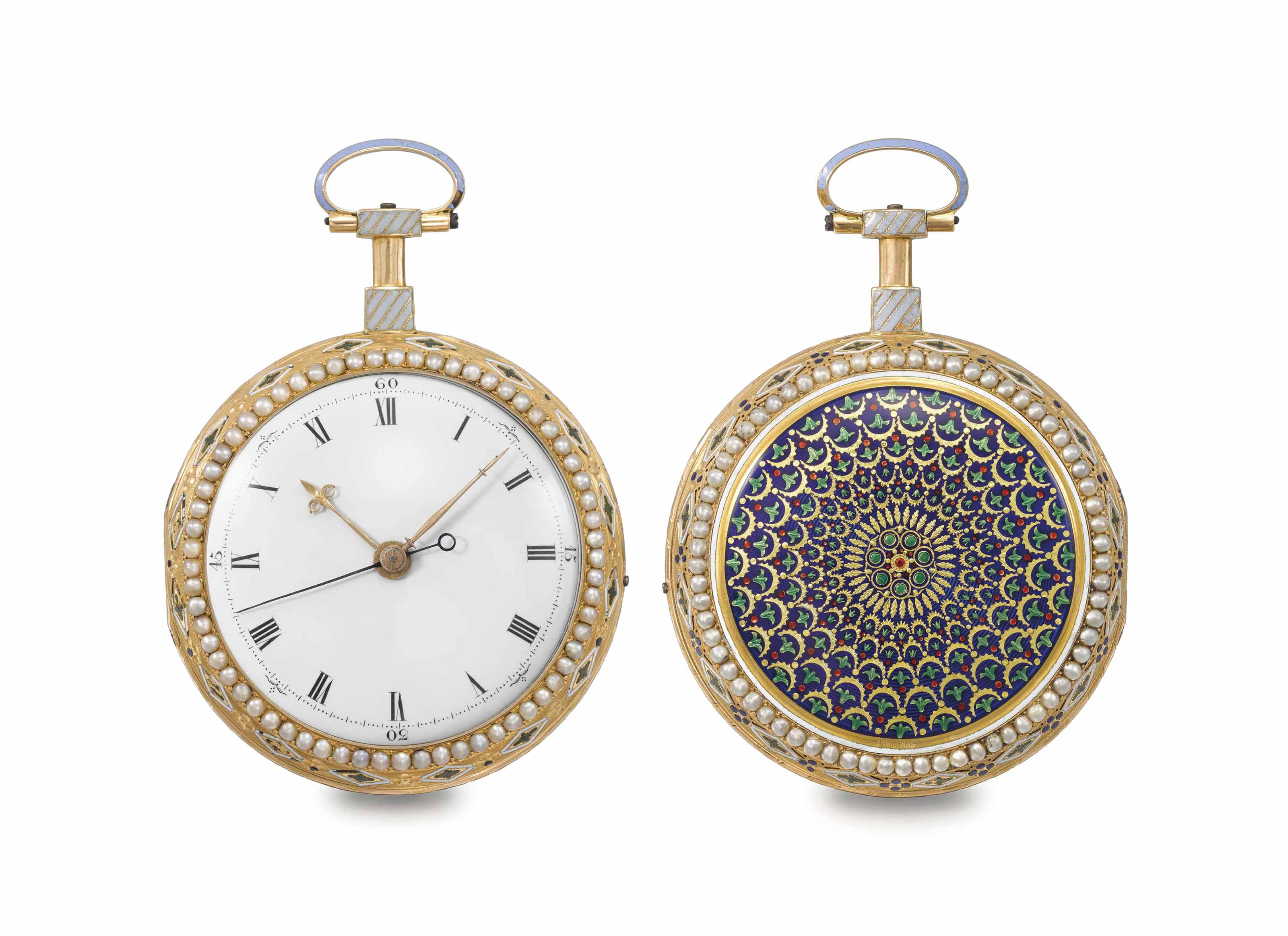 Swiss, attributed to Jaquet-Droz. A fine and rare 18K gold, enamel and pearl-set two train quarter striking clockwatch with centre seconds, made for the Chinese Market