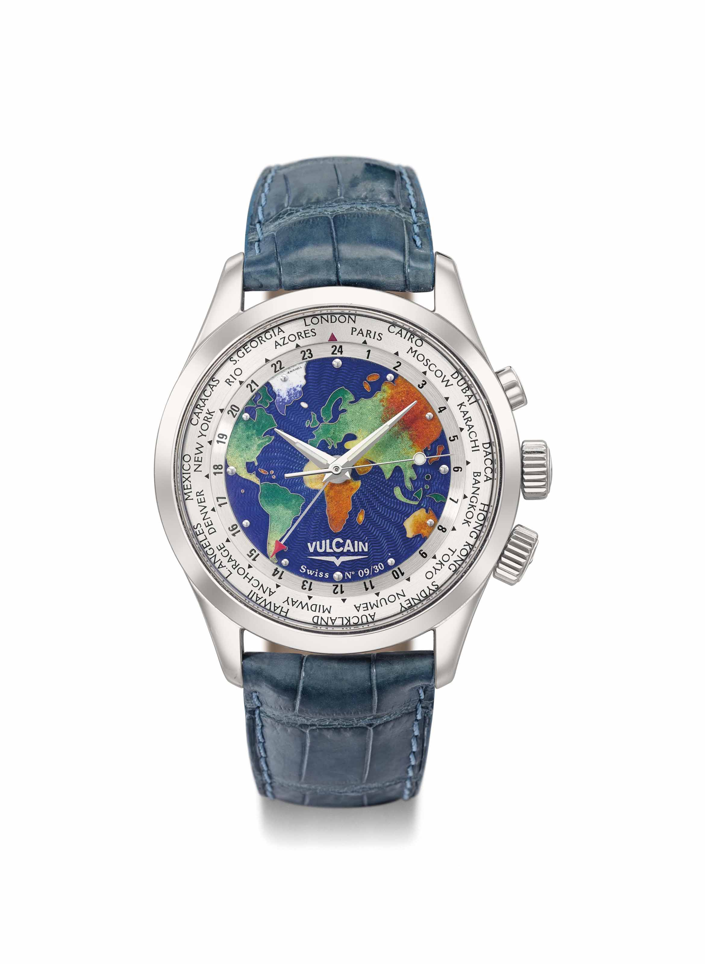 Vulcain. A rare, fine and attractive 18k white gold limited edition world time wristwatch with sweep centre seconds, alarm, cloisonné enamel dial, Certificate and box