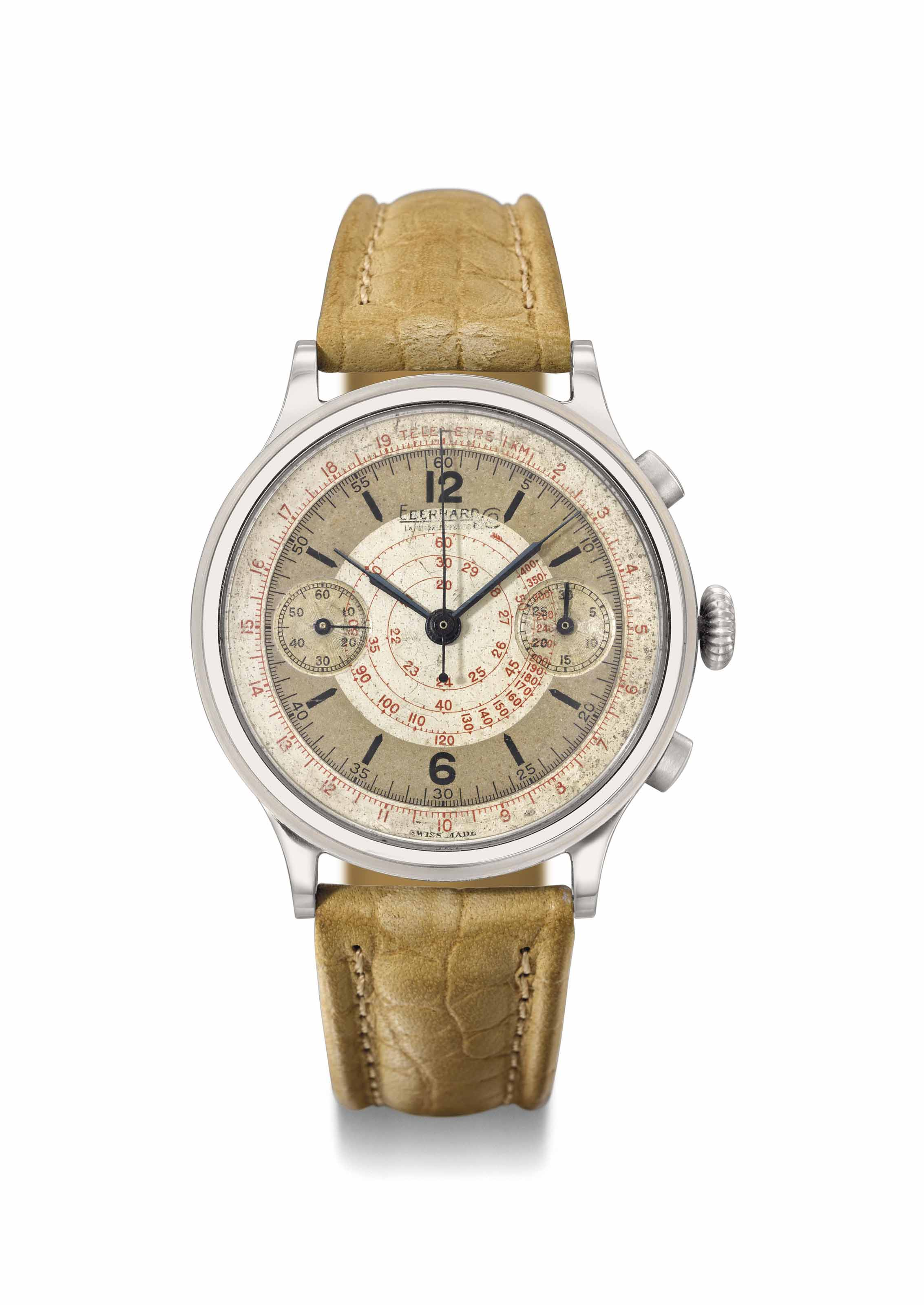 Eberhard. A large and unusual stainless steel chronograph wristwatch with two-tone silvered dial and patented split time mechanism