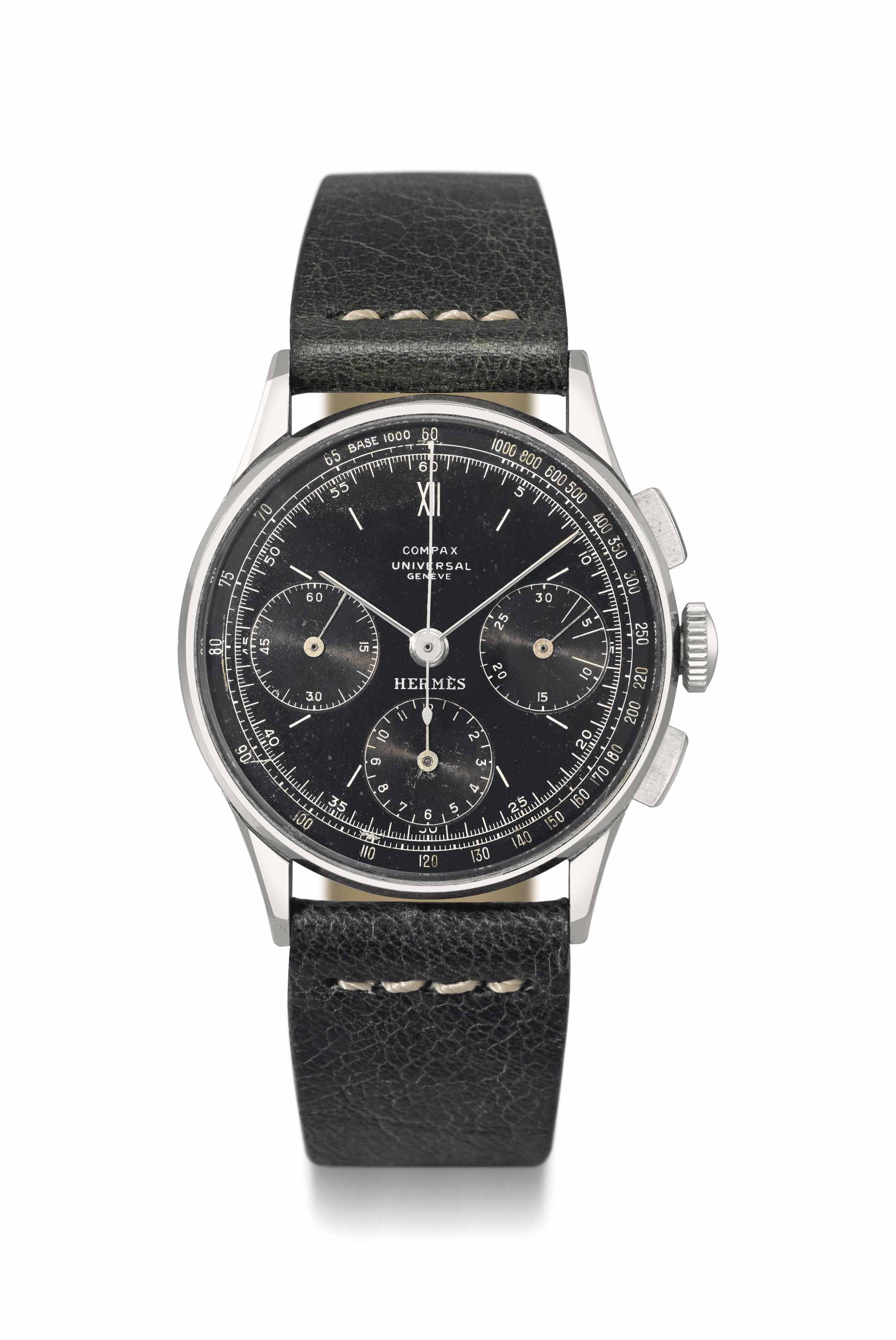 Universal. A fine and extremely rare stainless steel chronograph wristwatch with black dial