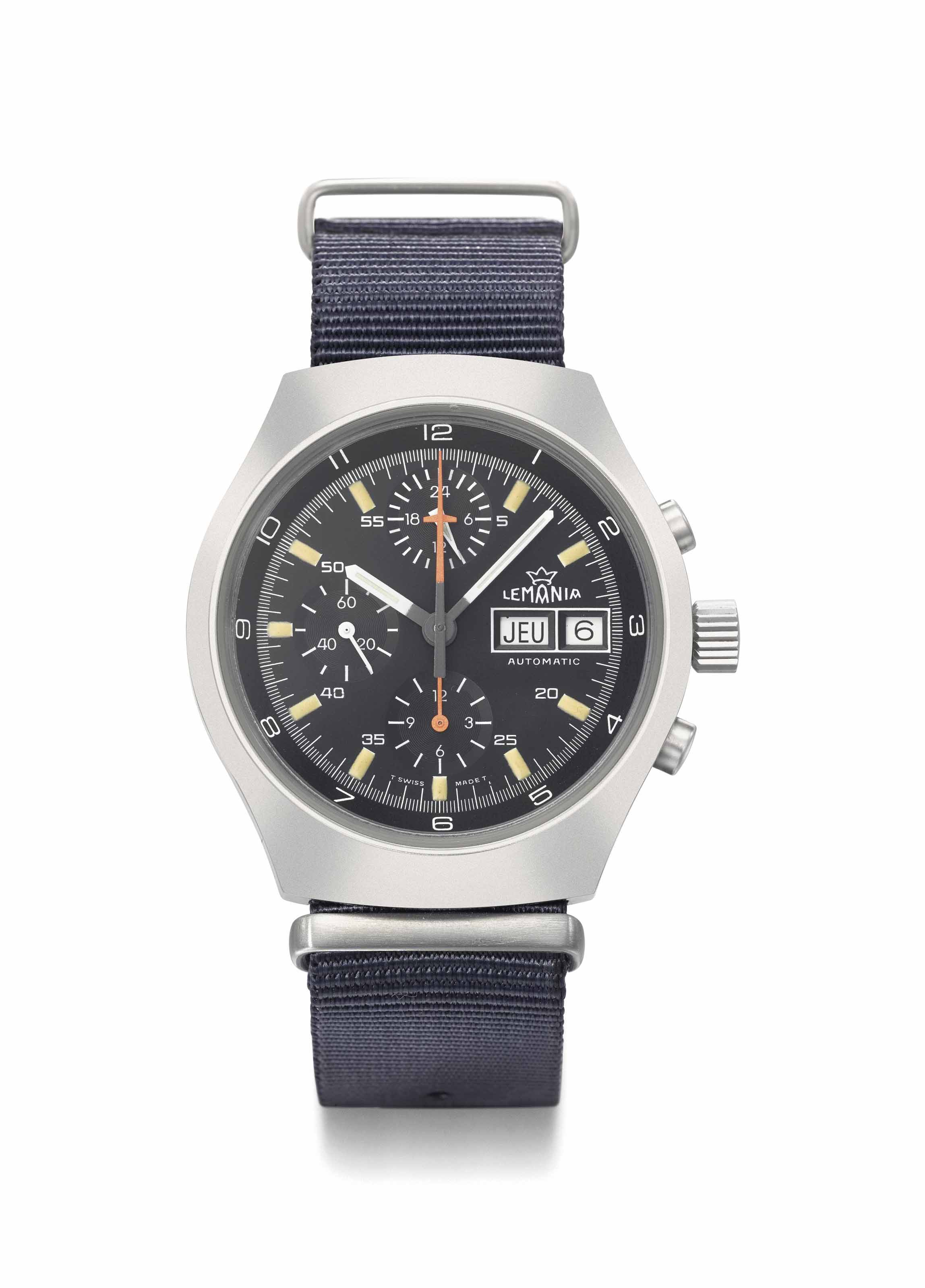 Lemania. A stainless steel automatic chronograph wristwatch with day, date and 24 hours indication