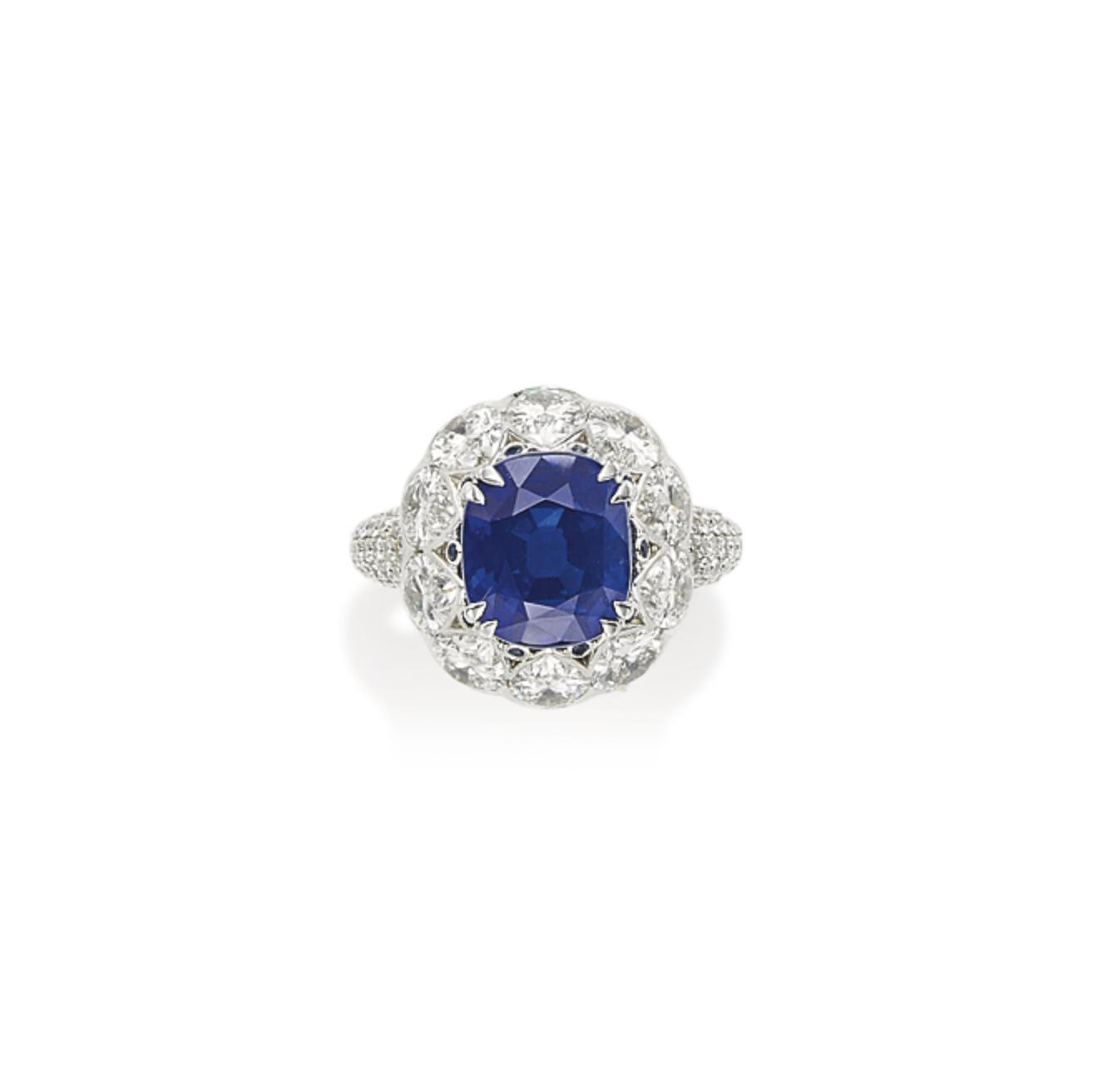 A SAPPHIRE AND DIAMOND RING, BY DAVID MORRIS