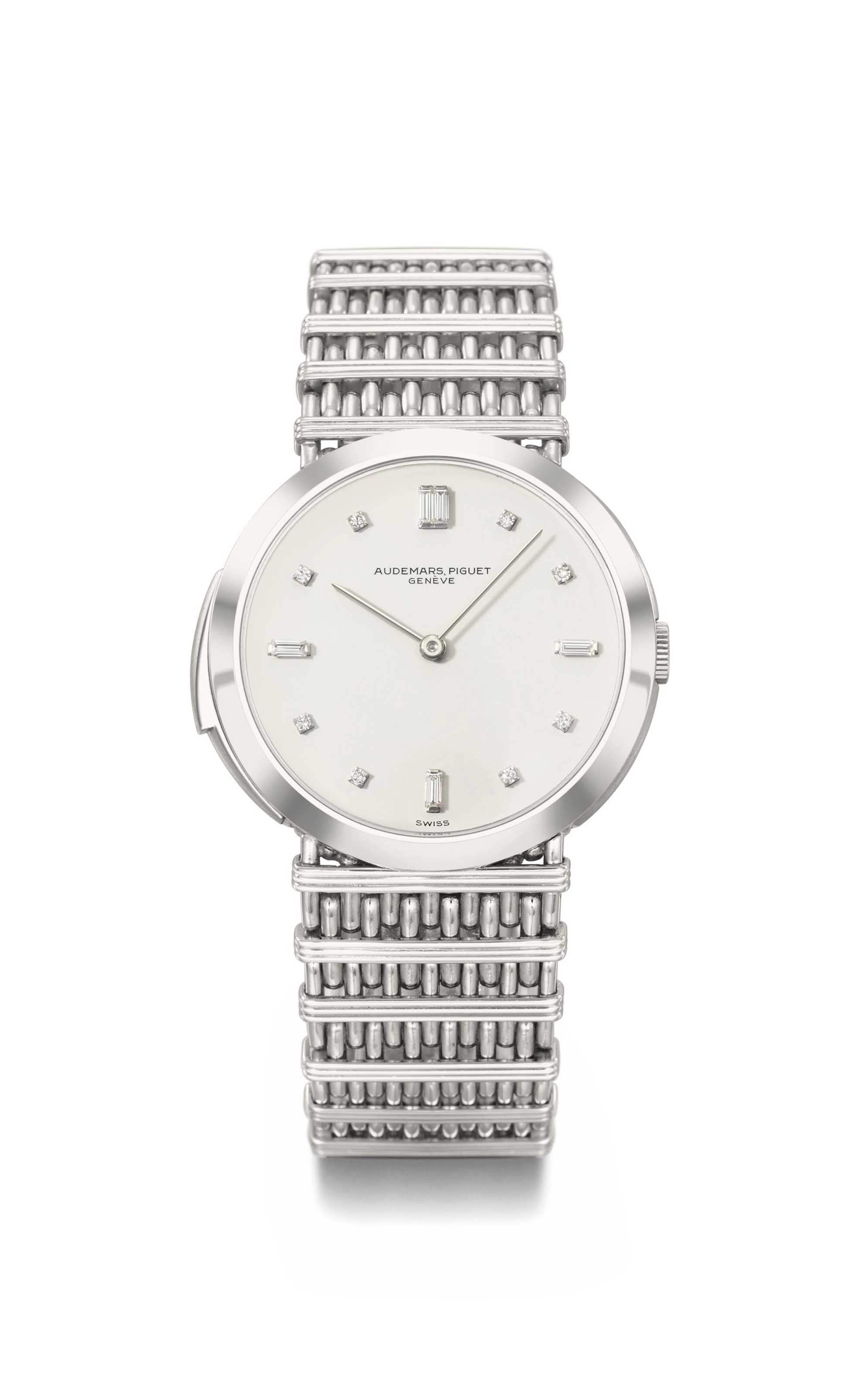 Audemars Piguet. A unique, extremely fine, highly important and previously unknown platinum and diamond-set minute repeating wristwatch with bracelet