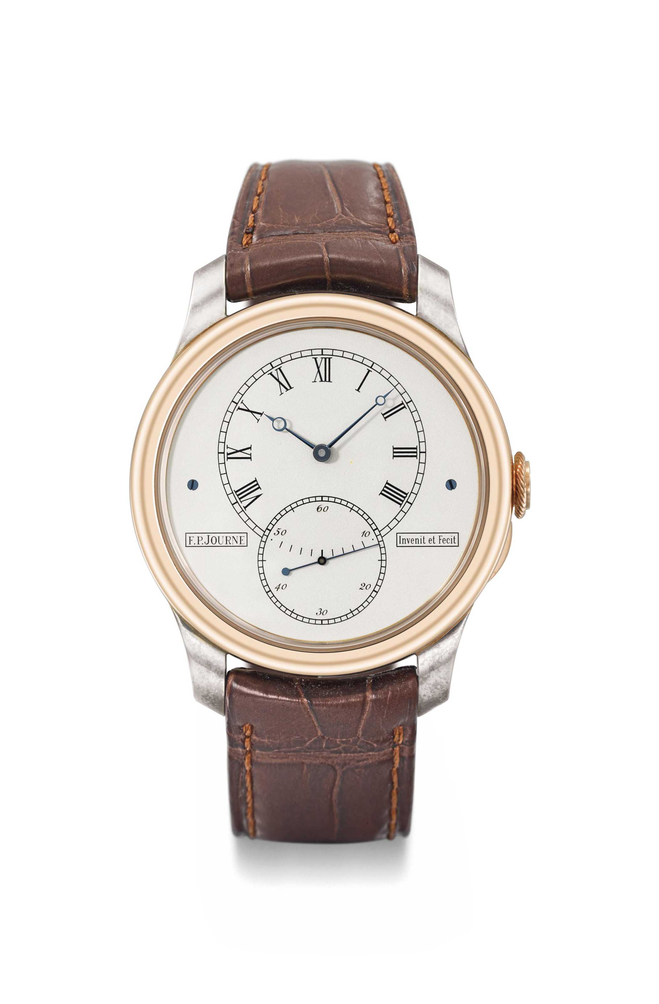 F.P. Journe a large and highly complicated 18K pink gold and silver limited edition wristwatch with tourbillon, twin barrel, box and certificate