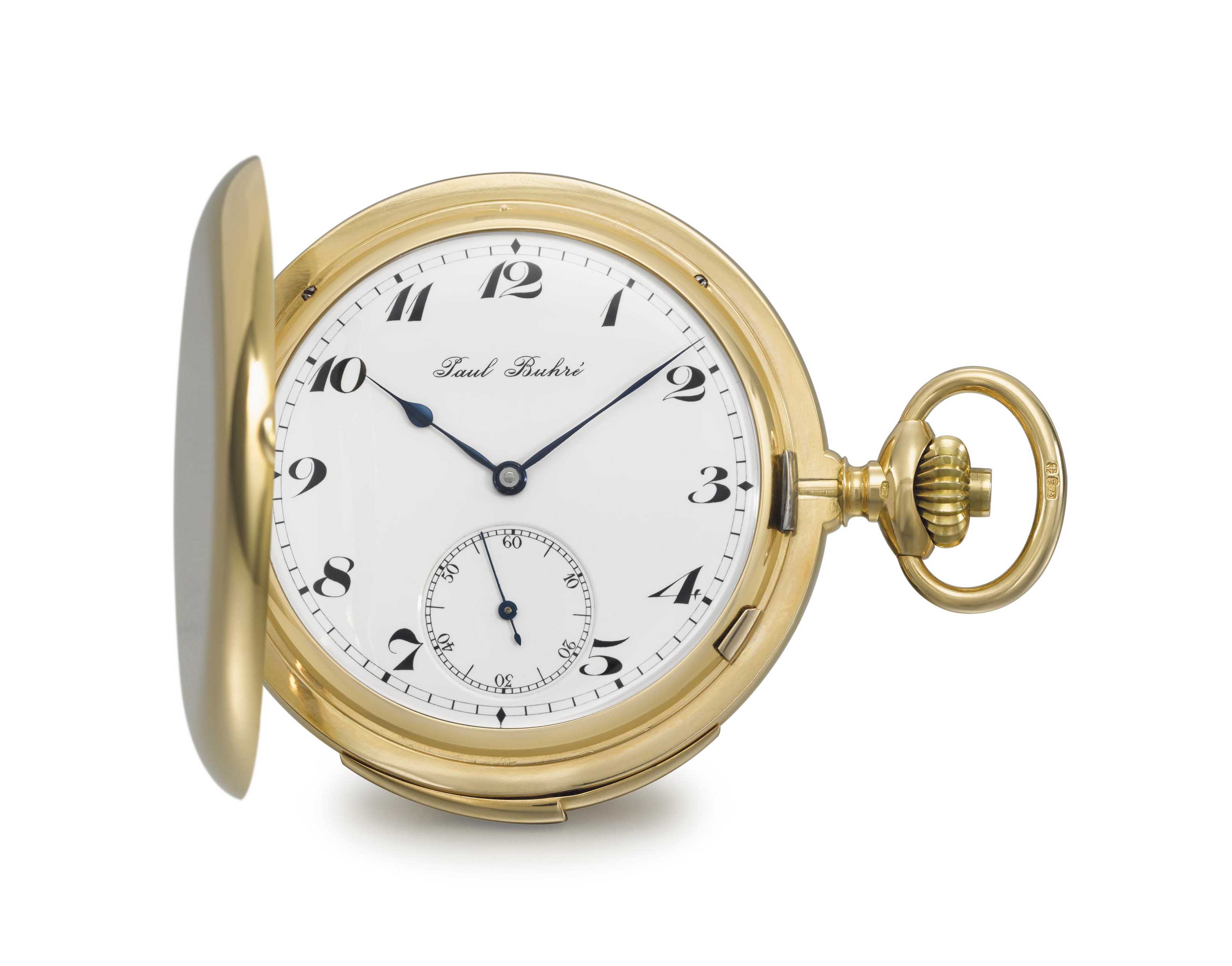 Paul Buhré. A very fine and extremely rare 18K gold hunter case Westminster chime carillon minute repeating keyless lever watch with four hammers and four gongs, made for the English market