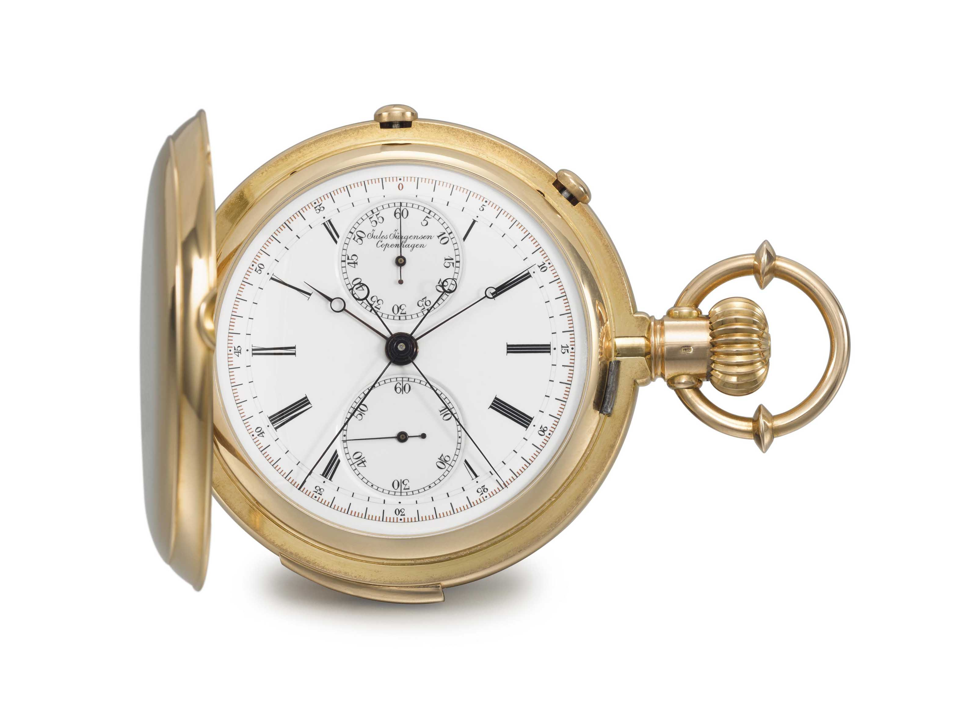 Jules Jürgensen. A very fine and rare 18K gold hunter case minute repeating split seconds chronograph keyless lever watch with Jurgensen's patented bow hand-setting mechanism.