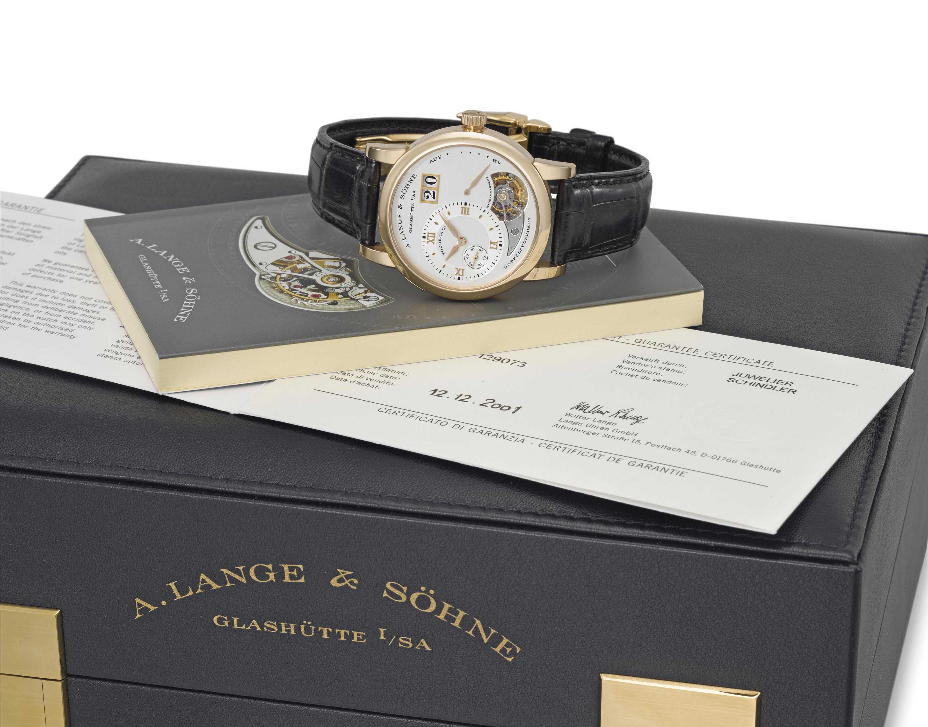A. Lange & Söhne. A very fine and rare 18K pink gold limited edition twin barrel one minute tourbillon wristwatch with oversized date, power reserve, original guarantee and box