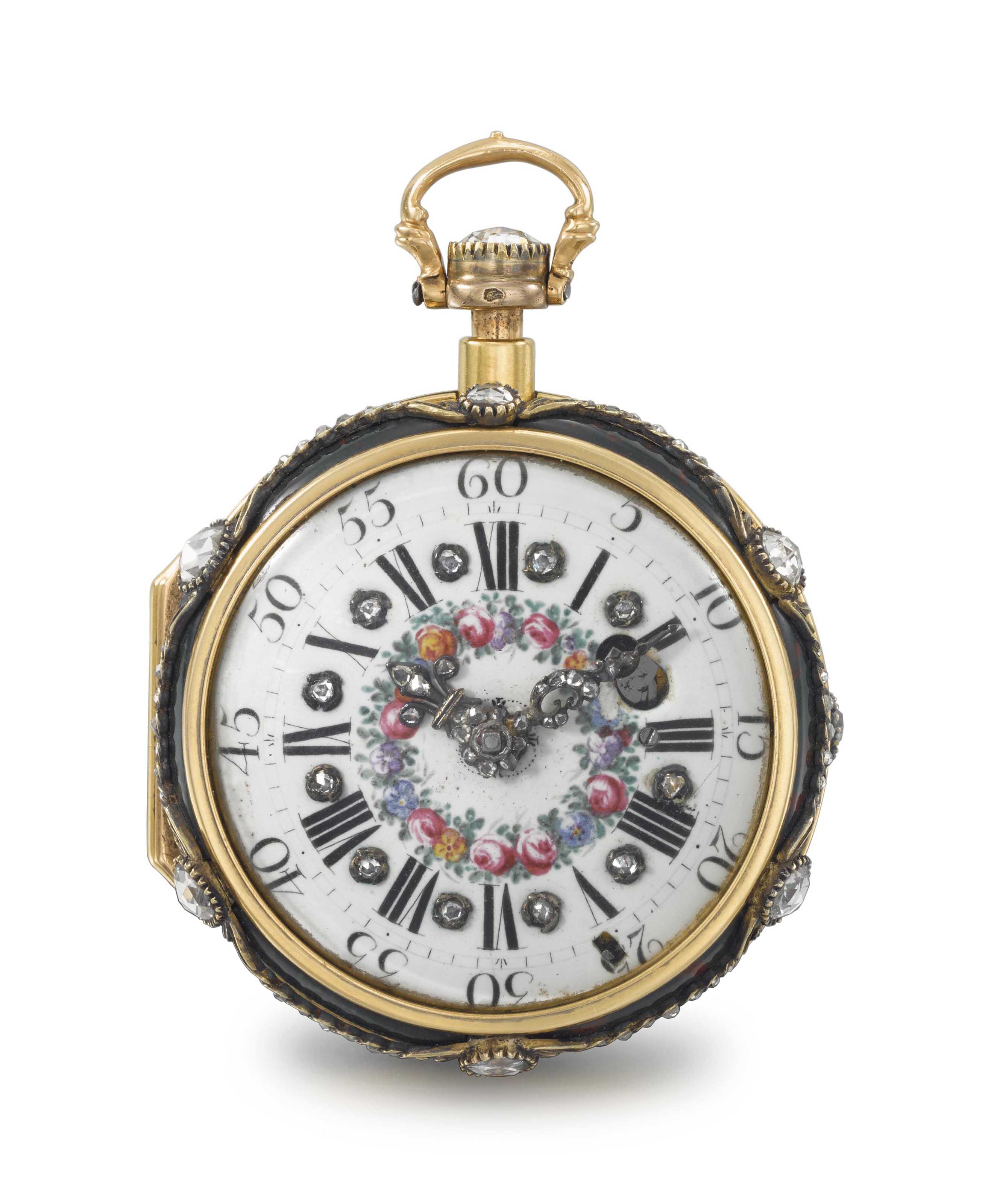 Julien Le Roy à Paris. A fine and rare, 18K gold, bloodstone and diamond set à toc quarter repeating verge watch