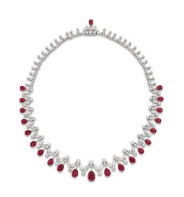 A RUBY AND DIAMOND FRINGE NECK
