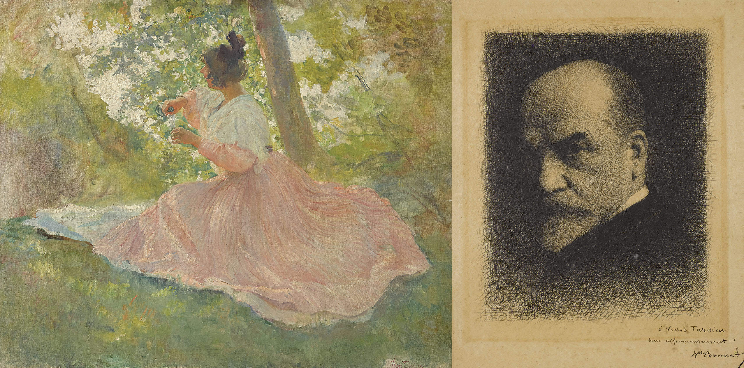 Mimi Pinson; Self-Portrait of Leon Bonnat, dedicated to Victor Tardieu