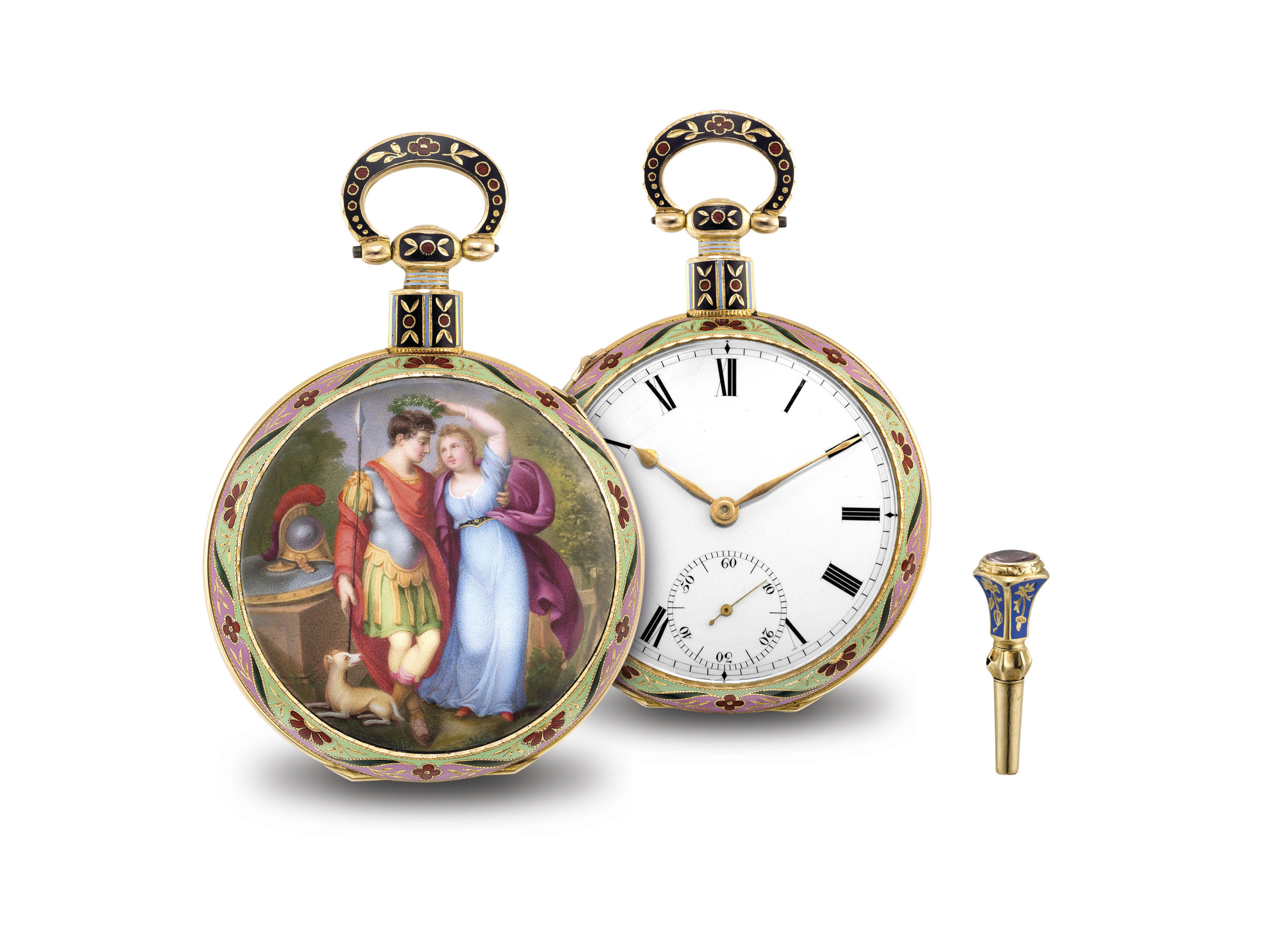 BOVET. AN EXTREMELY FINE AND RARE GOLD AND ENAMEL OPENFACE MUSICAL CYLINDER WATCH, MADE FOR THE CHINESE MARKET