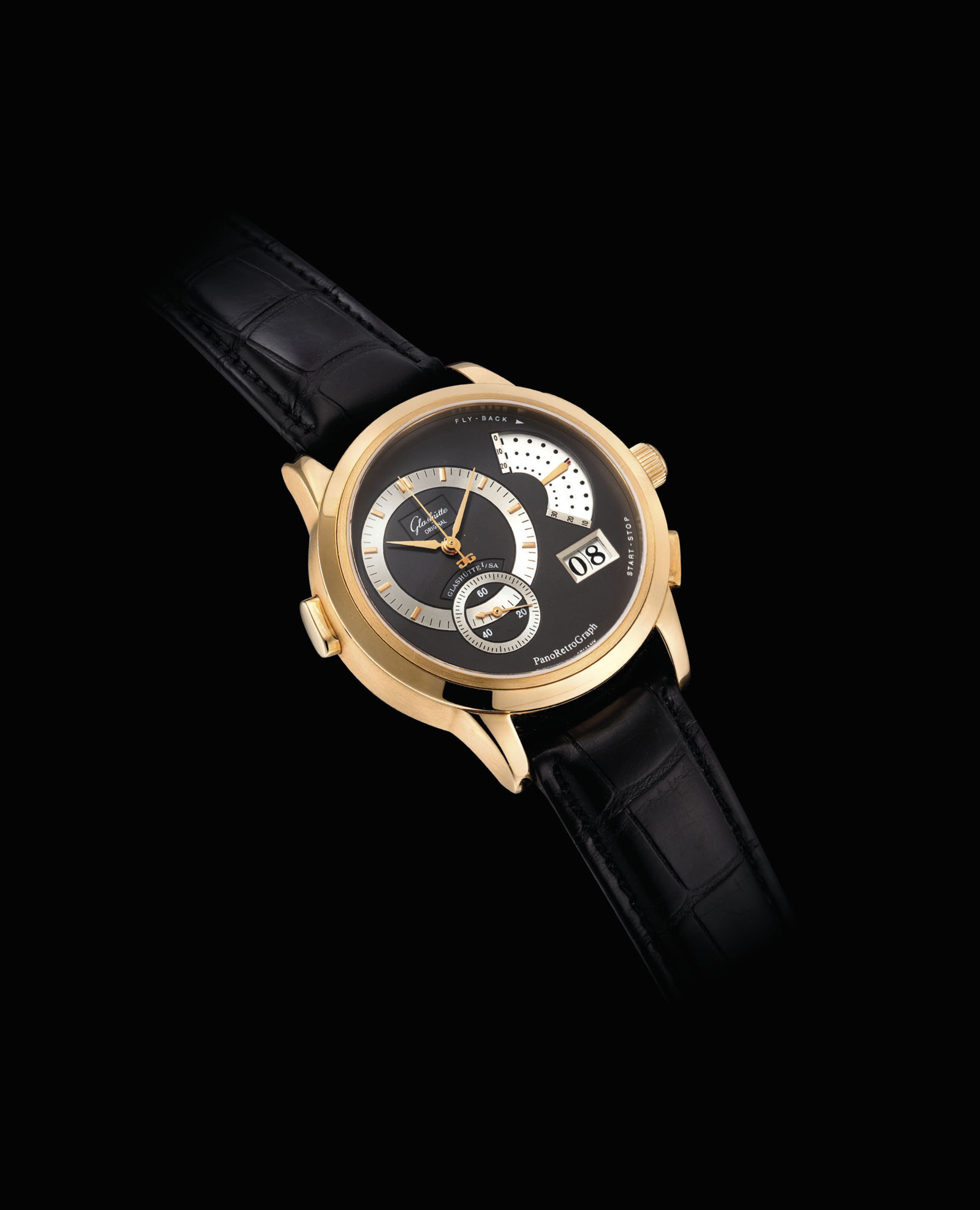 GLASHÜTTE ORIGINAL. A FINE 18K PINK GOLD FLY BACK CHRONOGRAPH WRISTWATCH WITH DATE, COUNTDOWN FUNCTION AND ACOUSTIC SIGNAL