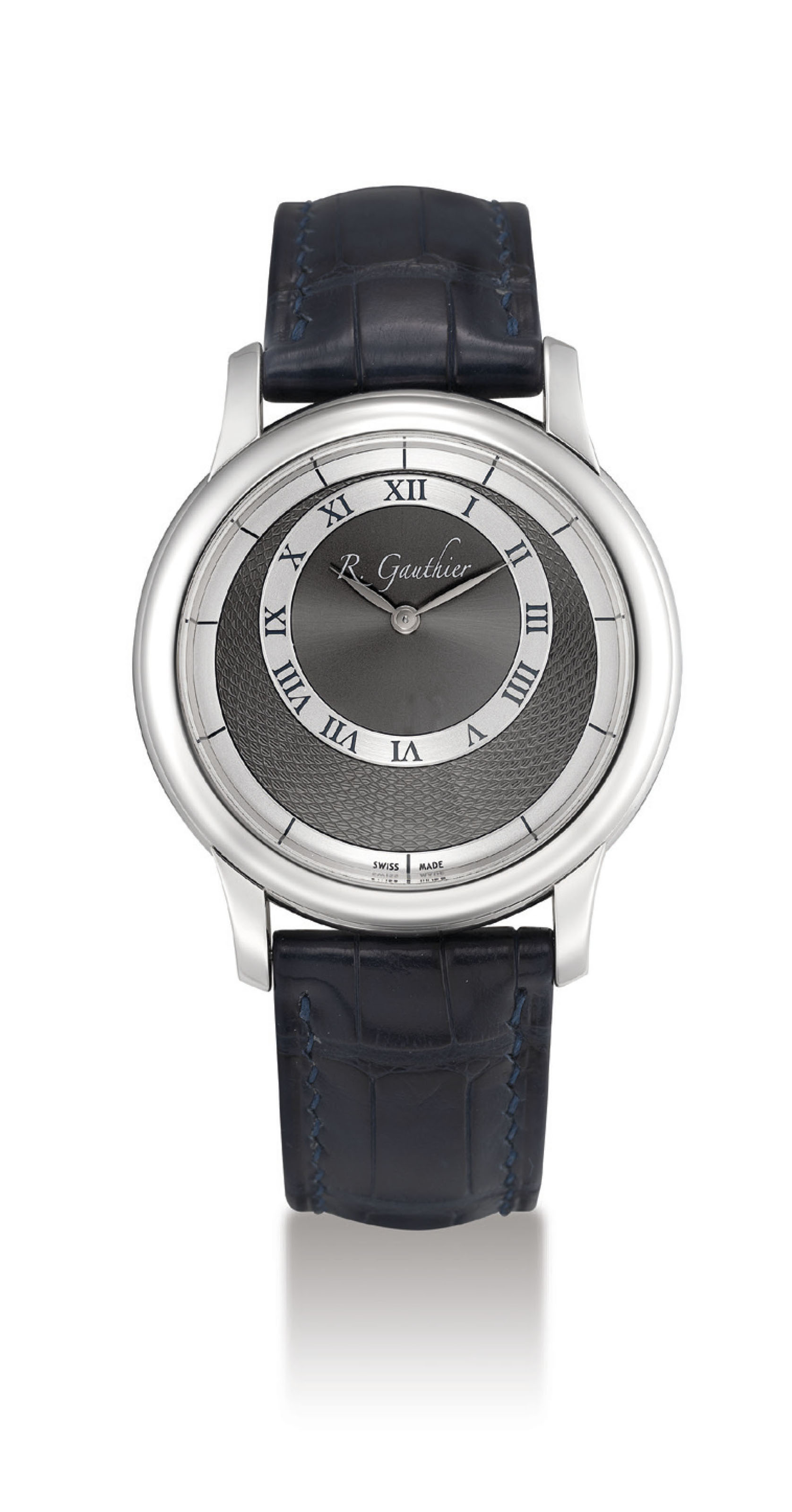 ROMAIN GAUTHIER. A FINE AND RARE PLATINUM LIMITED EDITION WRISTWATCH