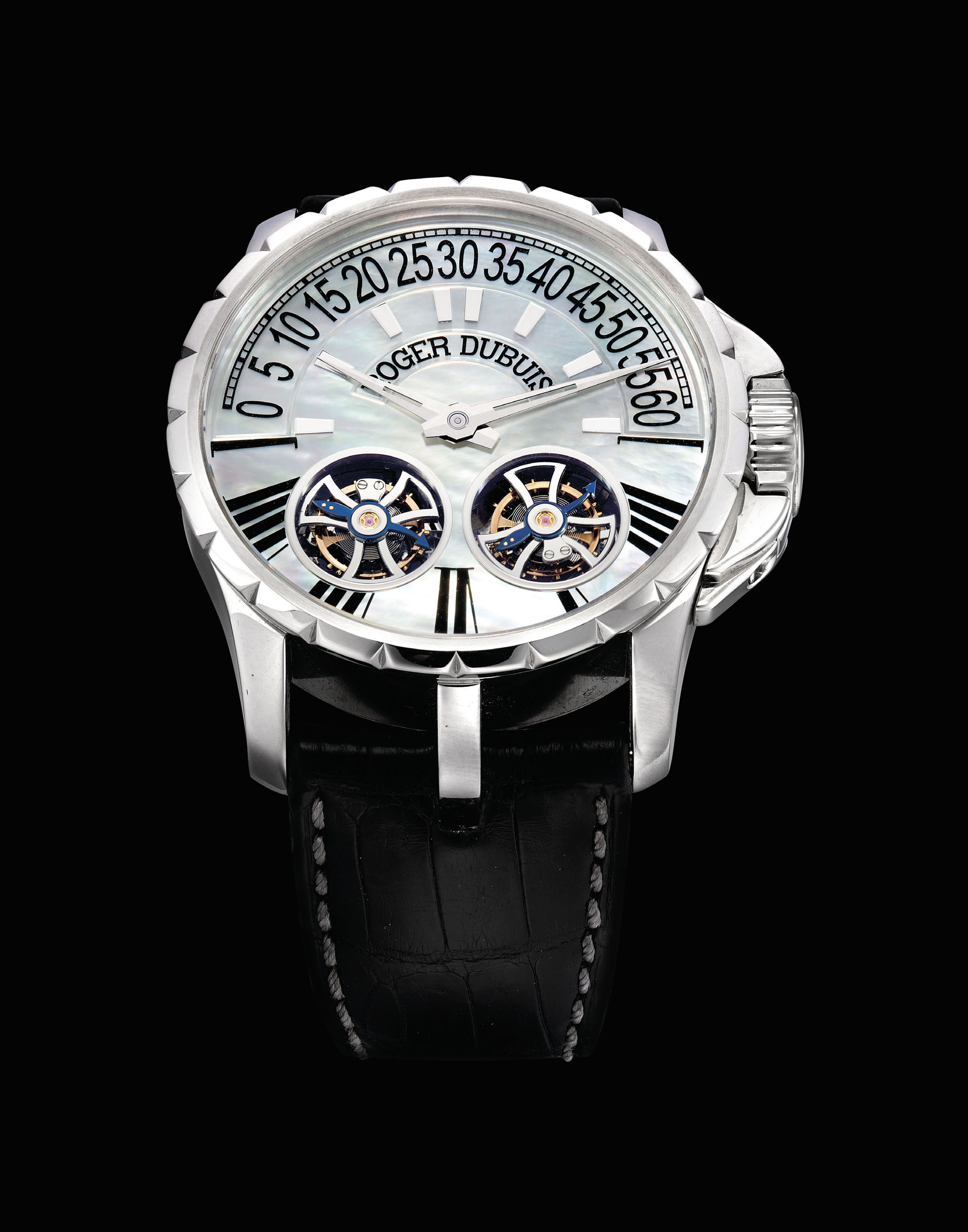 ROGER DUBUIS. A FINE STAINLESS STEEL LIMITED EDITION DOUBLE TOURBILLON WRISTWATCH WITH RETROGRADE MINUTES, POWER RESERVE AND MOTHER-OF-PEARL DIAL