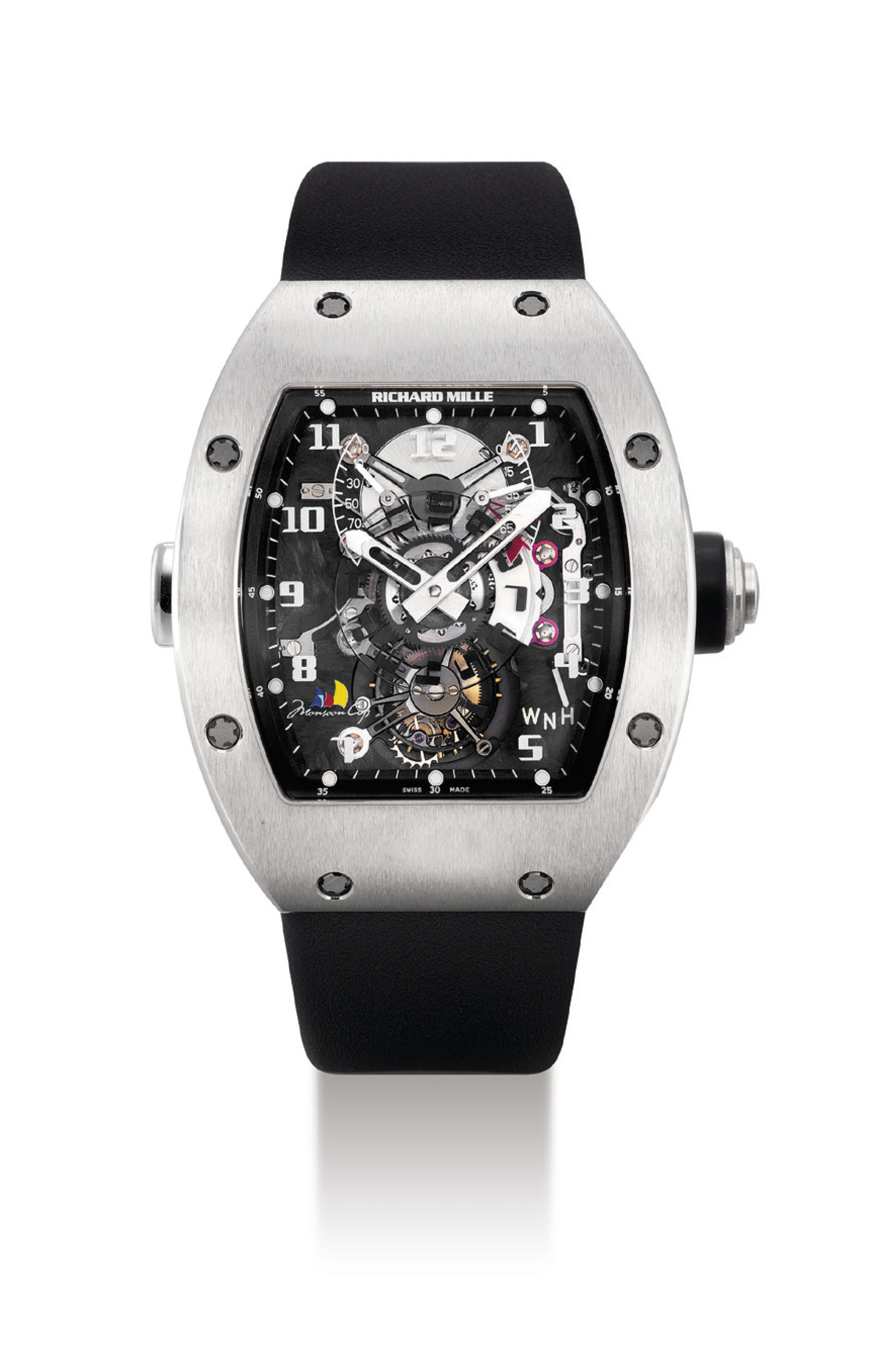 RICHARD MILLE. A FINE AND RARE 18K WHITE GOLD LIMITED EDITION TONNEAU-SHAPED SEMI-SKELETONISED DUAL TIME TOURBILLON WRISTWATCH WITH POWER RESERVE AND TORQUE INDICATORS, MADE FOR THE MONSOON CUP