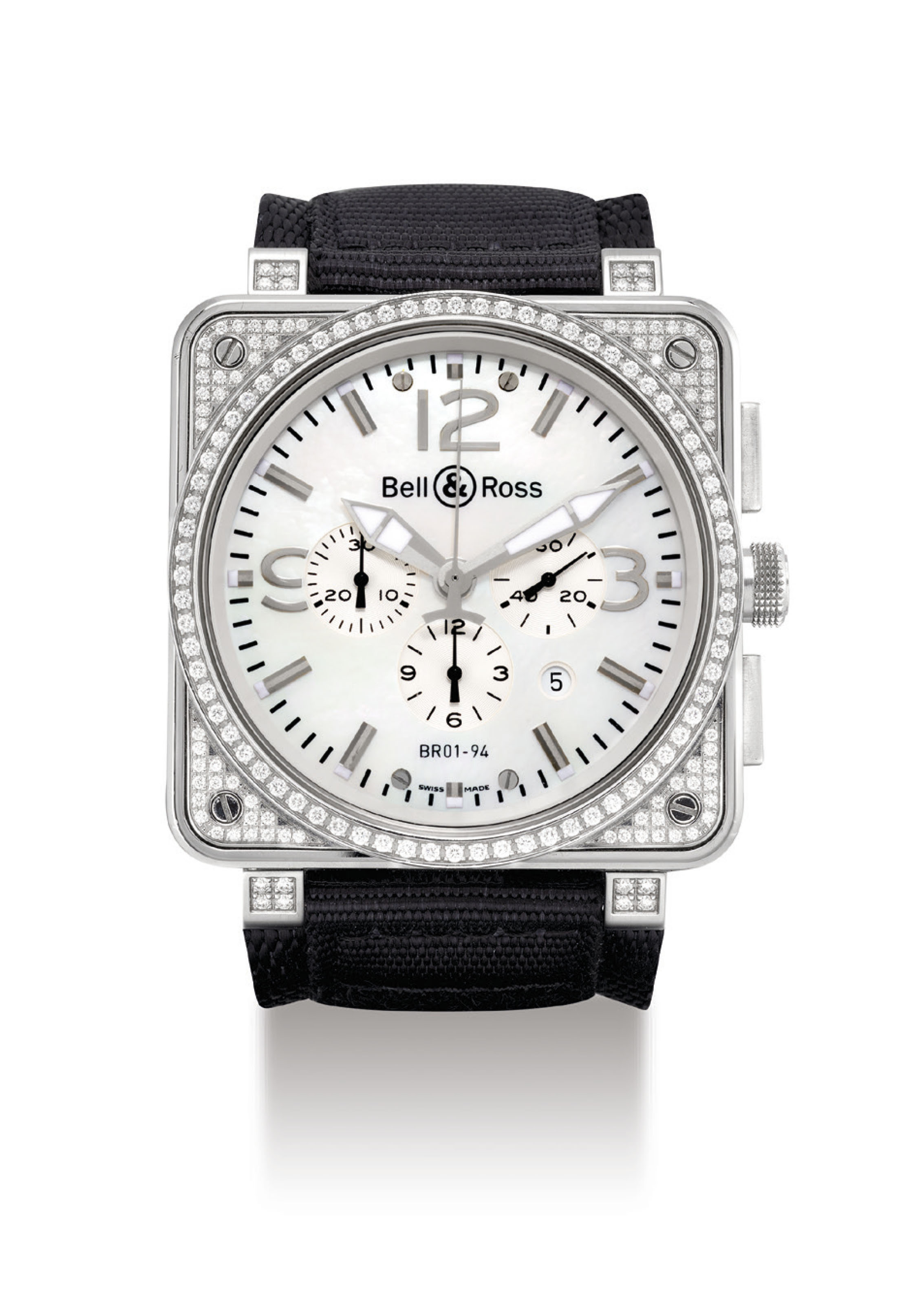 BELL & ROSS. A STAINLESS STEEL AND DIAMOND-SET SQUARE AUTOMATIC CHRONOGRAPH WRISTWATCH WITH DATE AND MOTHER-OF-PEARL DIAL