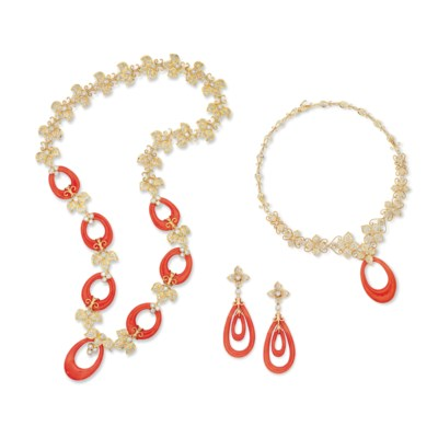 A SUITE OF CORAL AND DIAMOND J