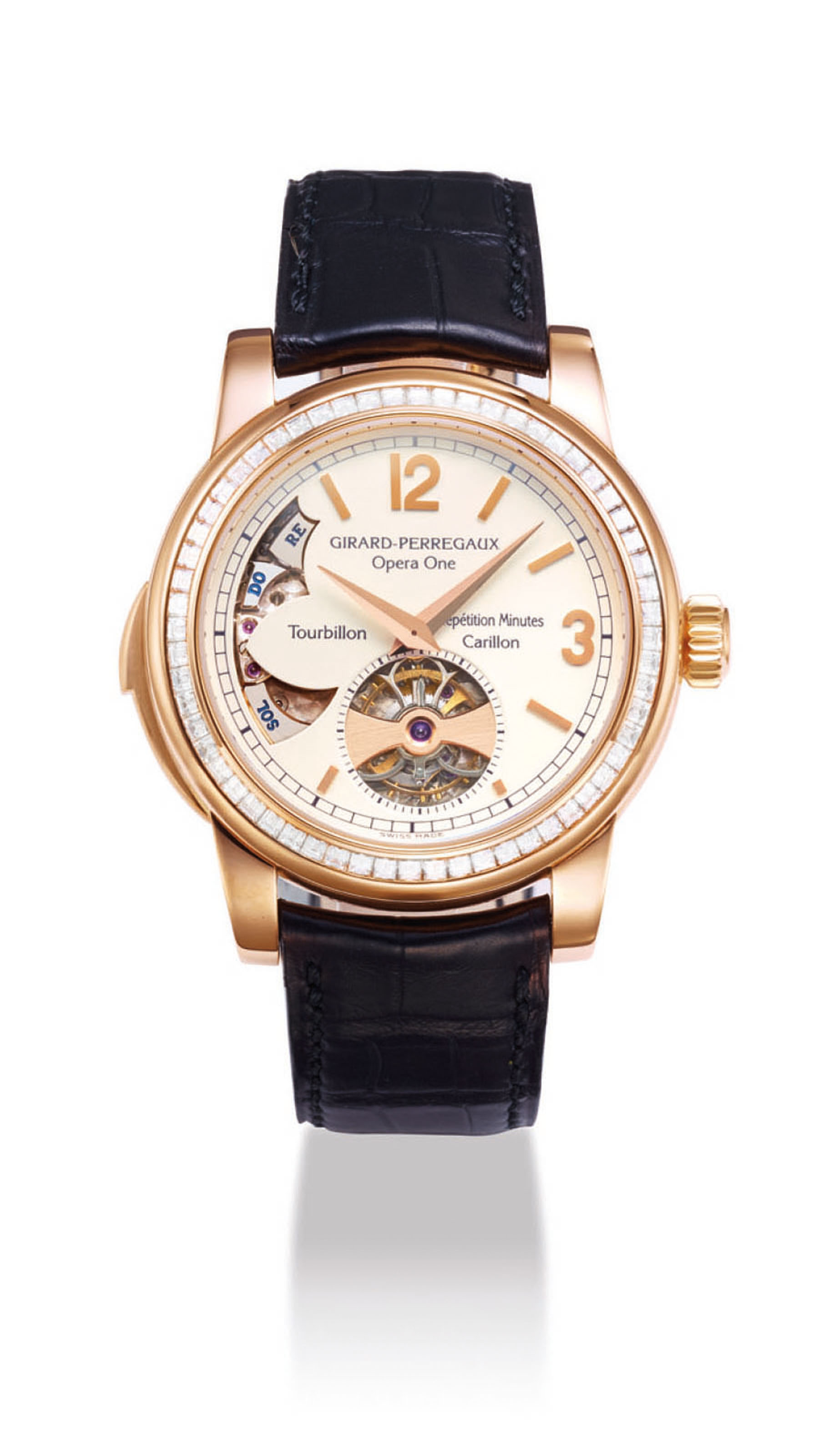 GIRARD-PERREGAUX. AN IMPORTANT AND VERY FINE 18K PINK GOLD AND DIAMOND-SET MINUTE REPEATING TOURBILLON WRISTWATCH WITH WESTMINSTER CARILLON CHIME