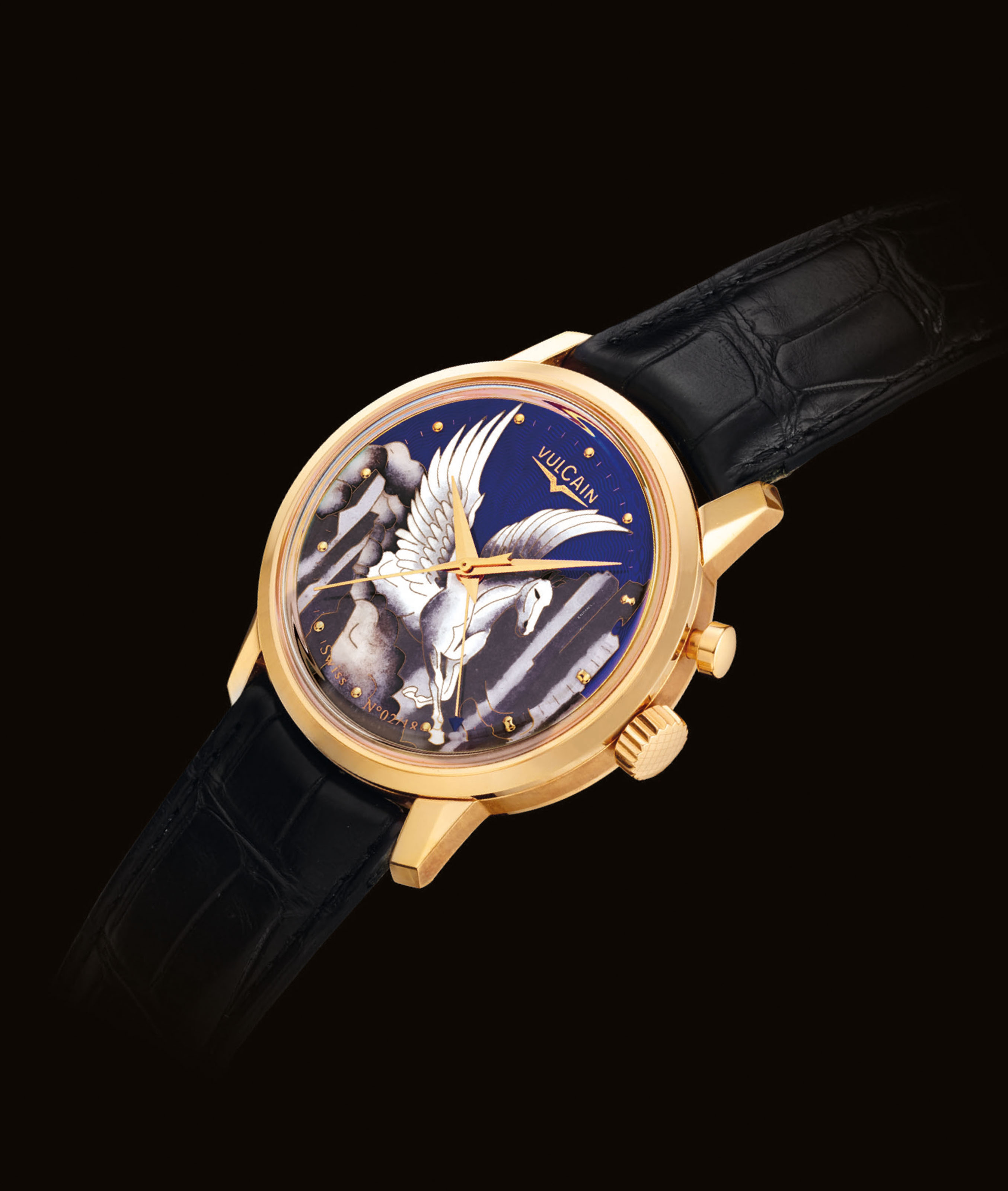 VULCAIN. A FINE AND RARE 18K PINK GOLD AUTOMATIC LIMITED EDITION WRISTWATCH WITH SWEEP CENTRE SECONDS, ALARM AND CLOISONNÉ ENAMEL DIAL