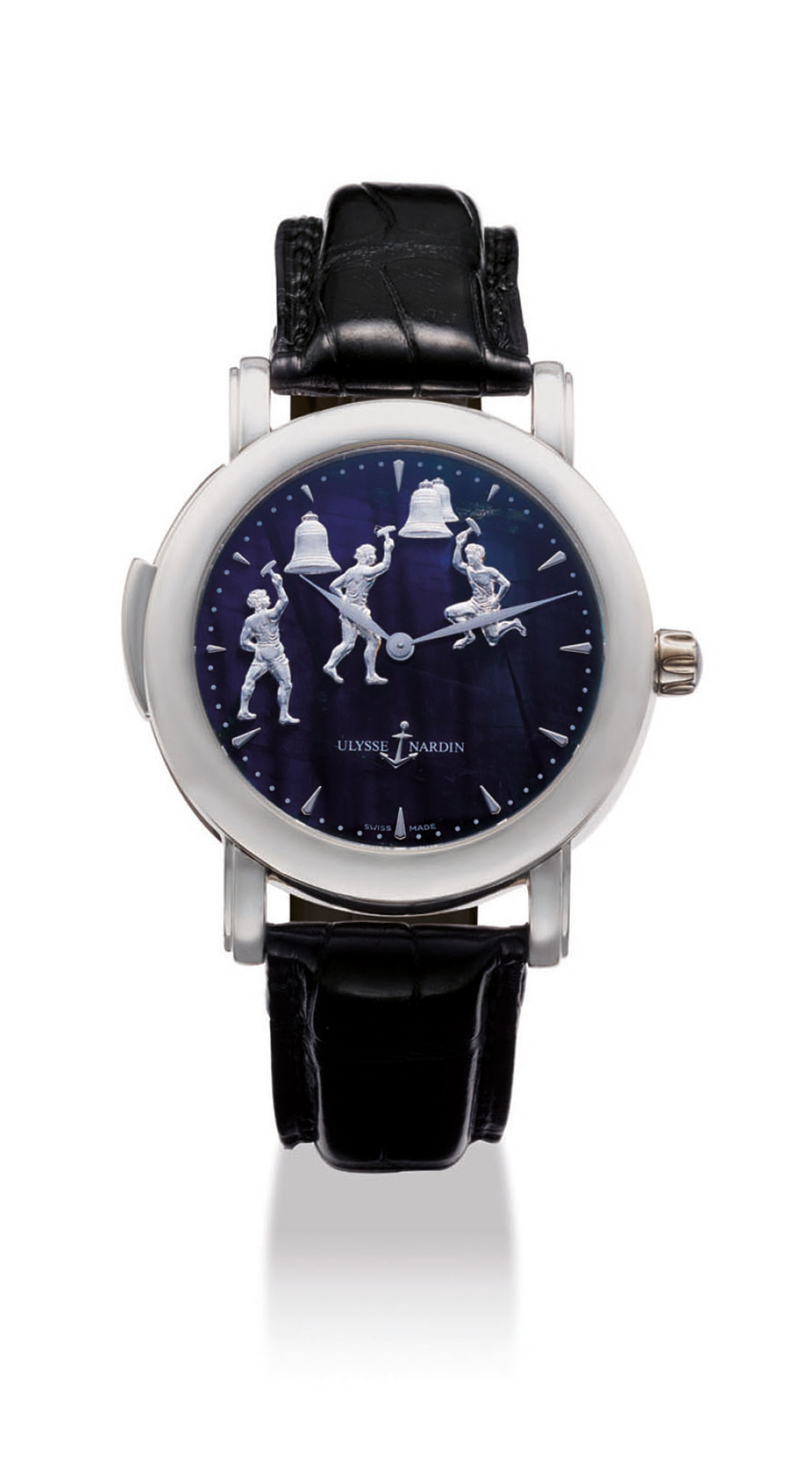 ULYSSE NARDIN. A VERY FINE AND RARE PLATINUM MINUTE REPEATING WRISTWATCH WITH THREE AUTOMATON JACQUEMARTS SCENE AND FELDSPAR DIAL
