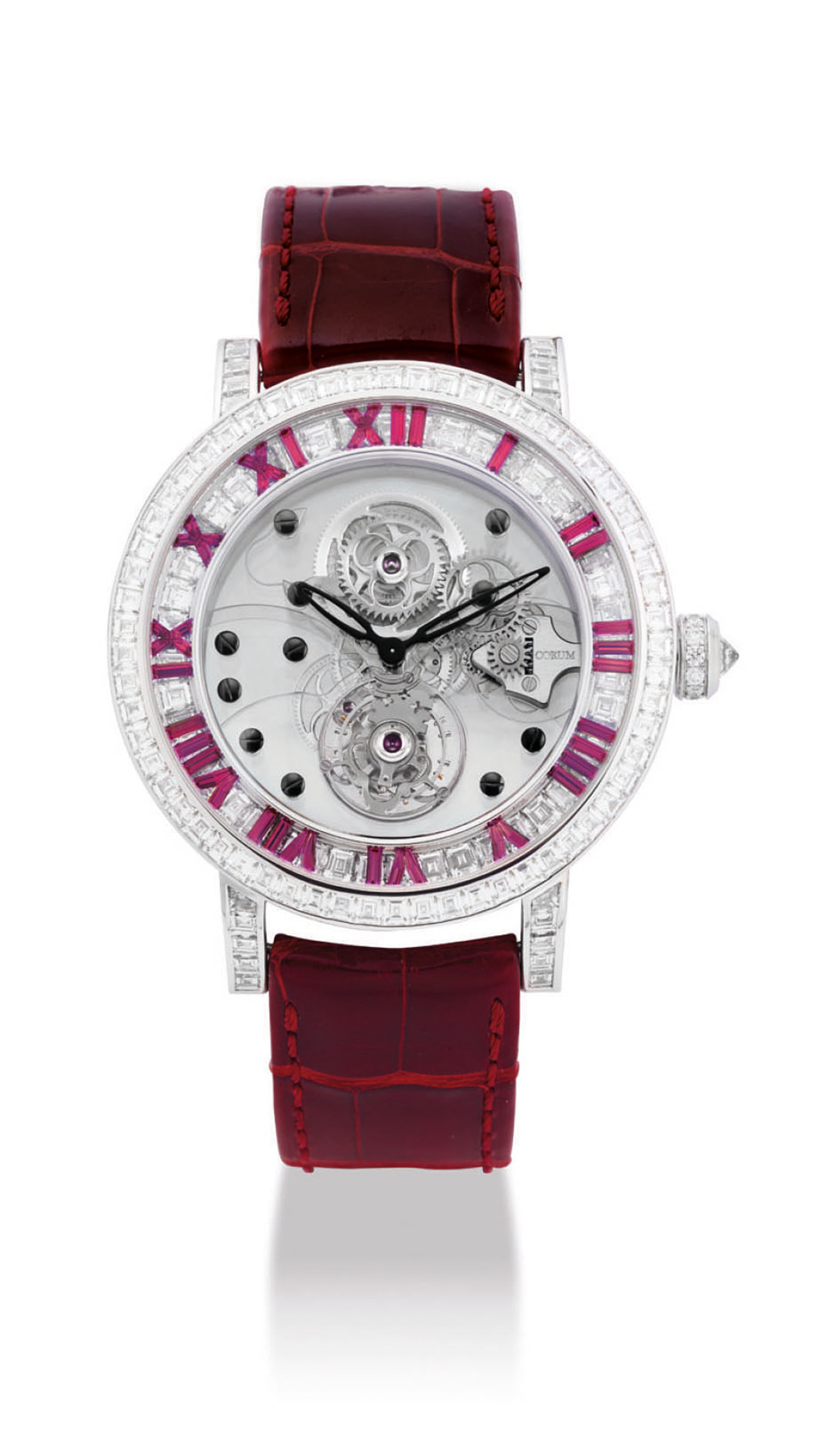 CORUM. AN IMPRESSIVE AND VERY FINE 18K WHITE GOLD, DIAMOND AND RUBY-SET LIMITED EDITION SKELETONISED TOURBILLON WRISTWATCH