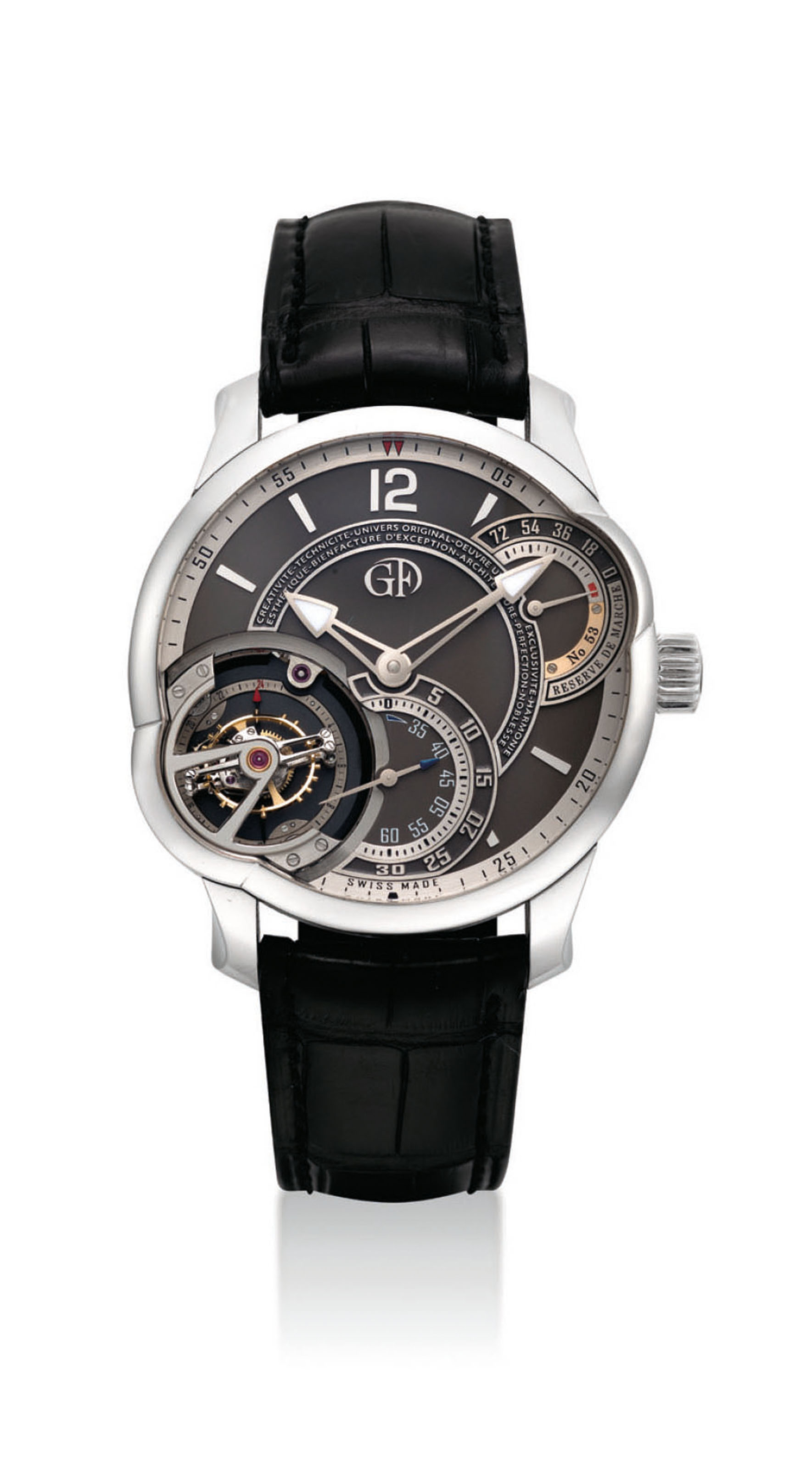 GREUBEL FORSEY. AN IMPORTANT AND VERY FINE PLATINUM ASYMMETRICAL 25° INCLINED 24 SECONDS TOURBILLON WRISTWATCH WITH 72 HOURS POWER RESERVE