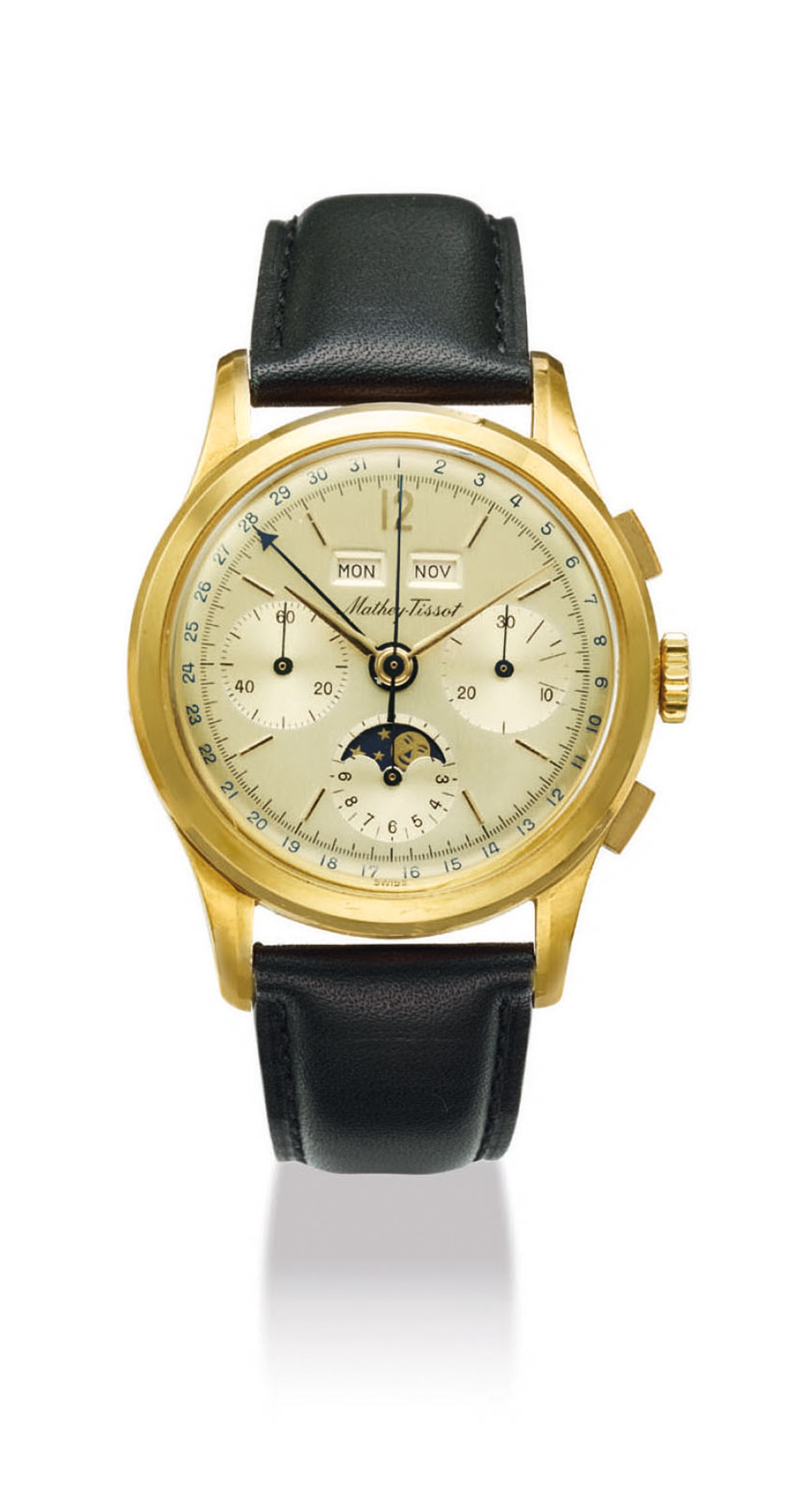 MATHEY-TISSOT. AN 18K GOLD TRIPLE CALENDAR CHRONOGRAPH WRISTWATCH WITH MOONPHASES