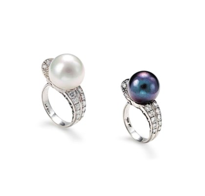 TWO CULTURED PEARL AND DIAMOND