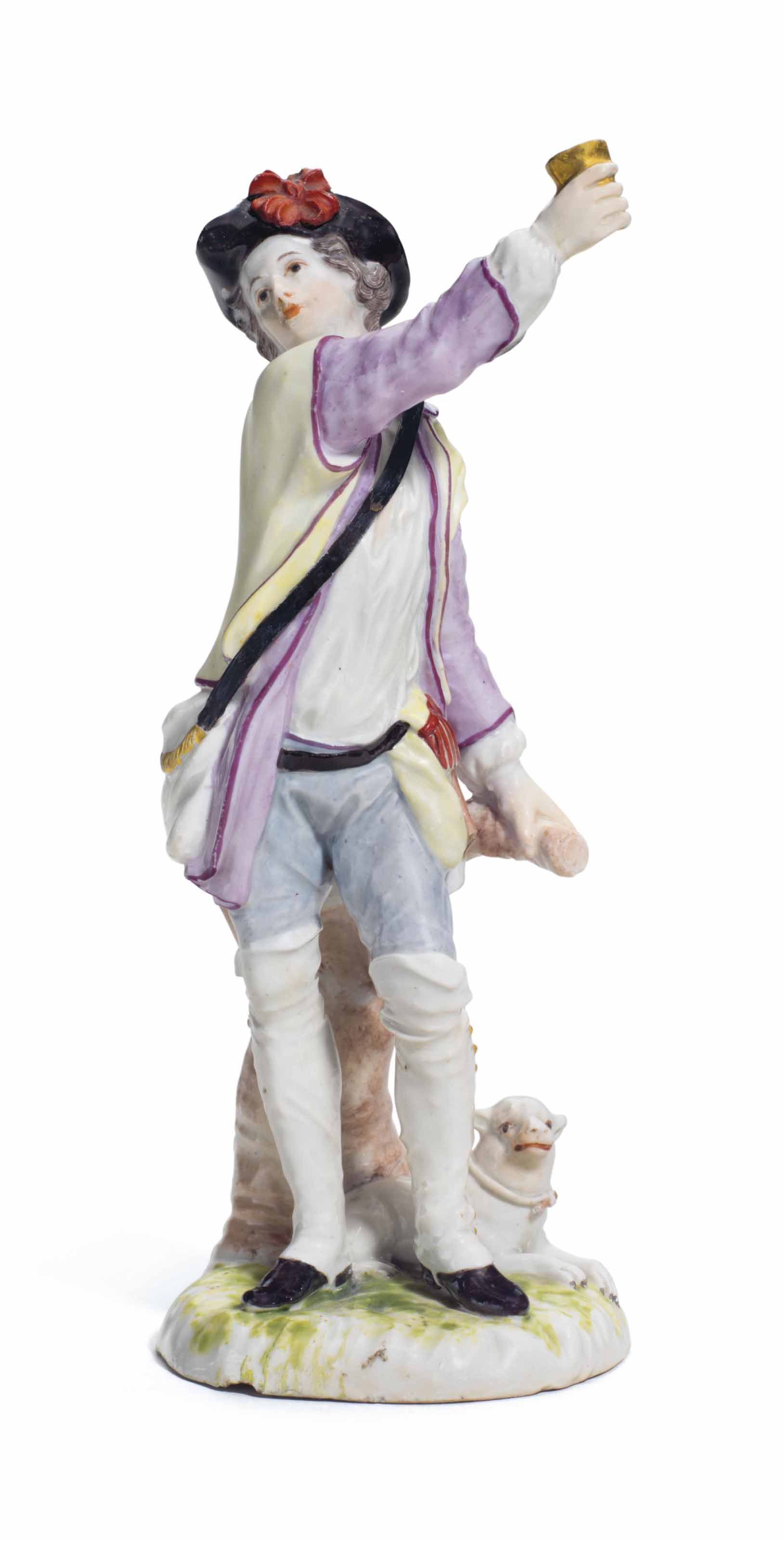 A LUDWIGSBURG PORCELAIN FIGURE OF A SHEPHERD
