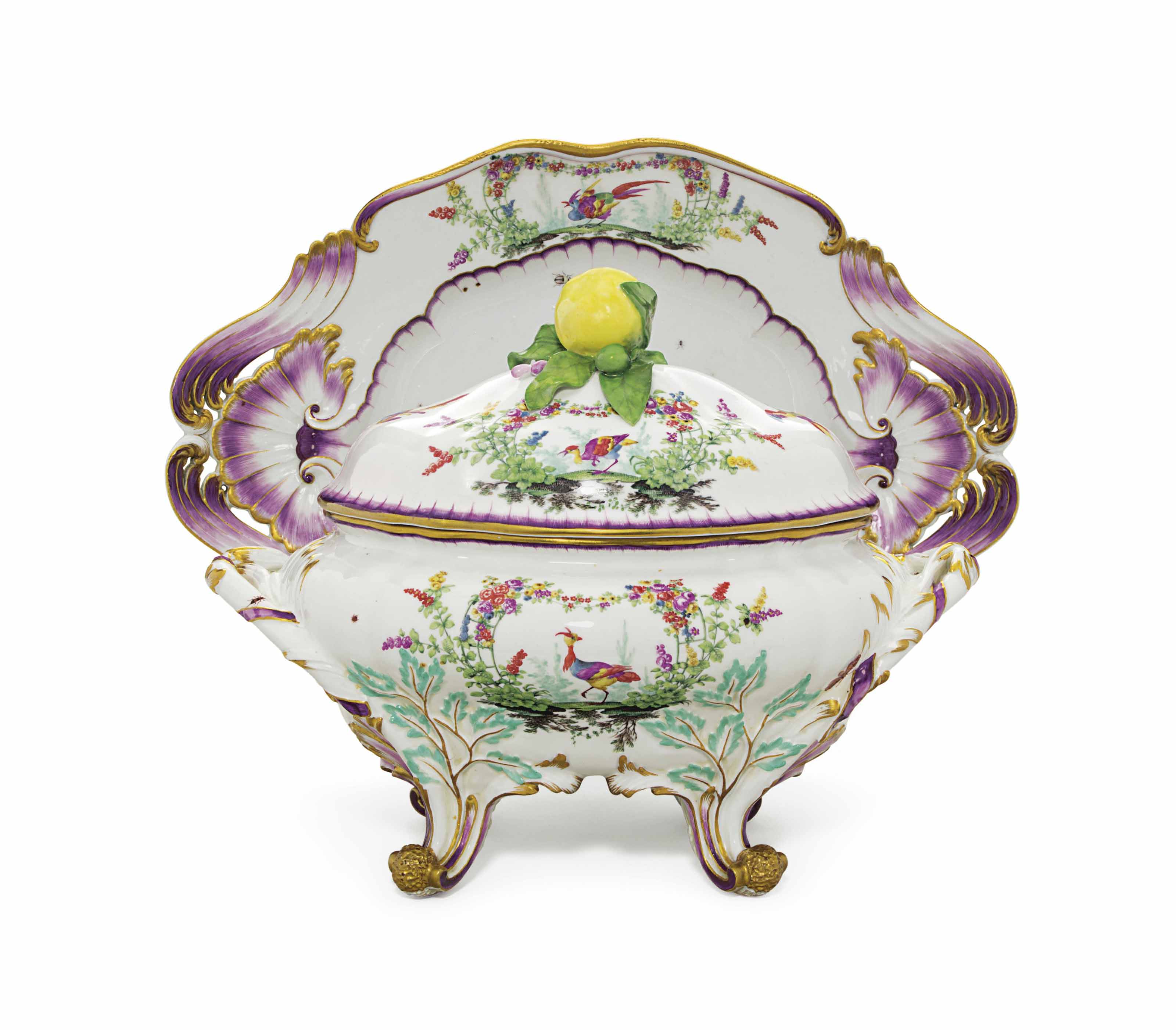 A MEISSEN PORCELAIN OVAL SOUP TUREEN, COVER AND STAND