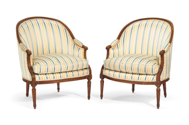 A PAIR OF LOUIS XVI WALNUT BER