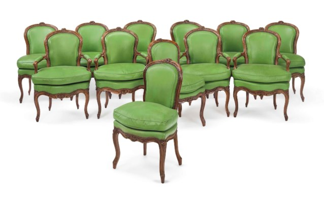 A SET OF TWELVE LOUIS XV BEECH