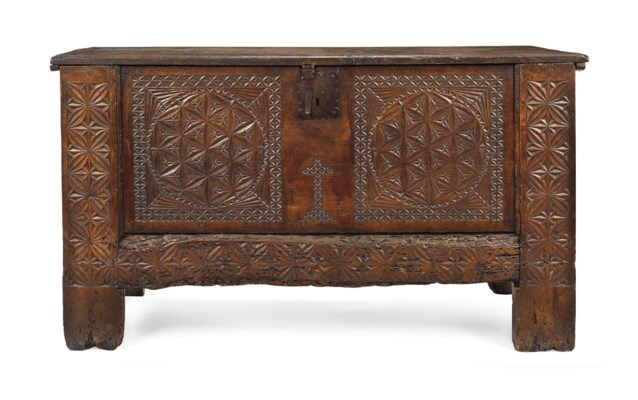 A SPANISH CHESTNUT CHEST