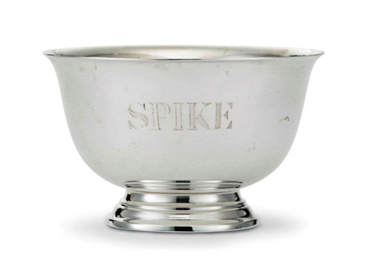 'SPIKE'S' SILVER DOG BOWL